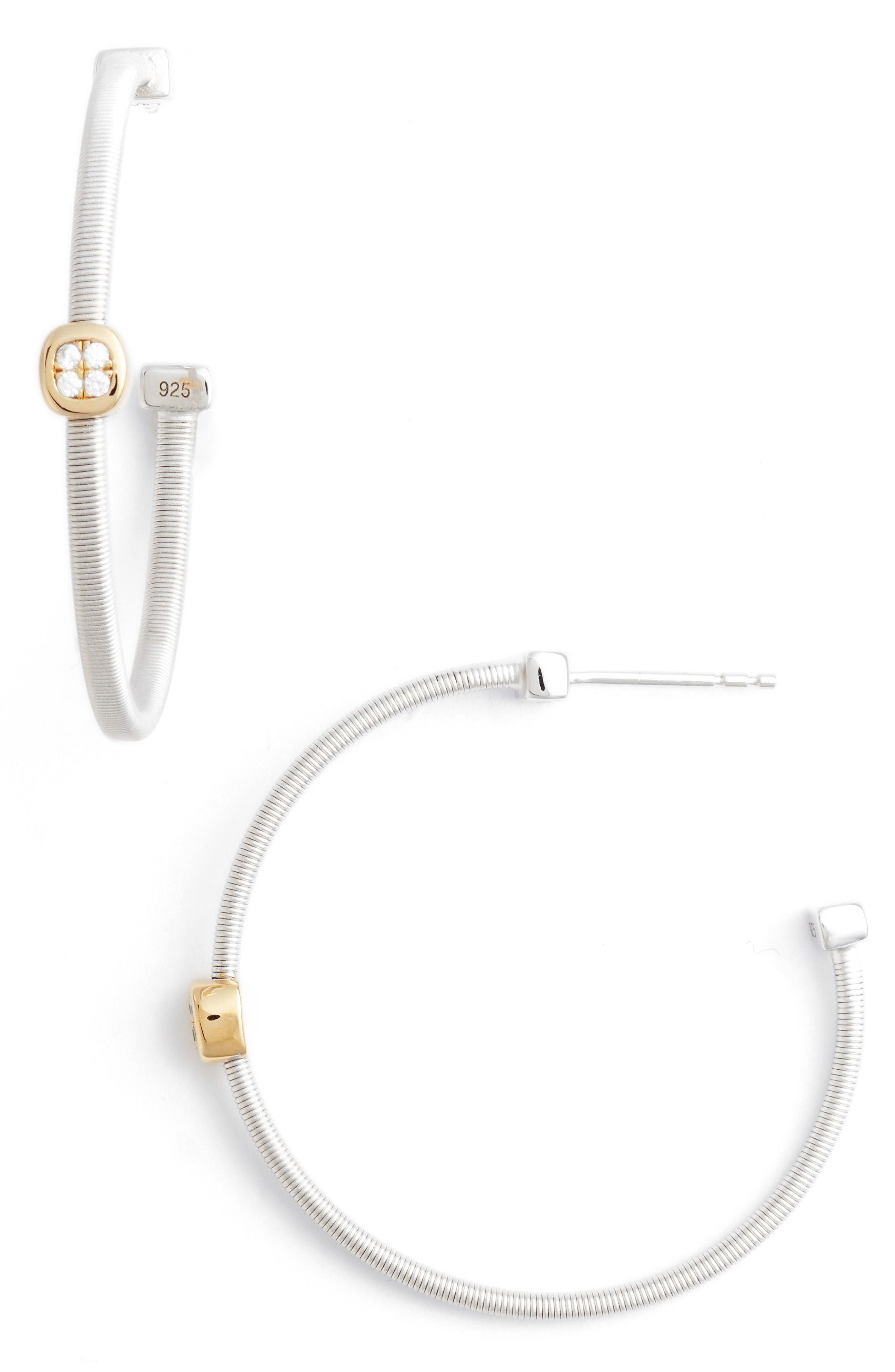 Milano Simulated Diamond Station Hoop Earrings,                             Main thumbnail 1, color,                             Two Tone/ Clear