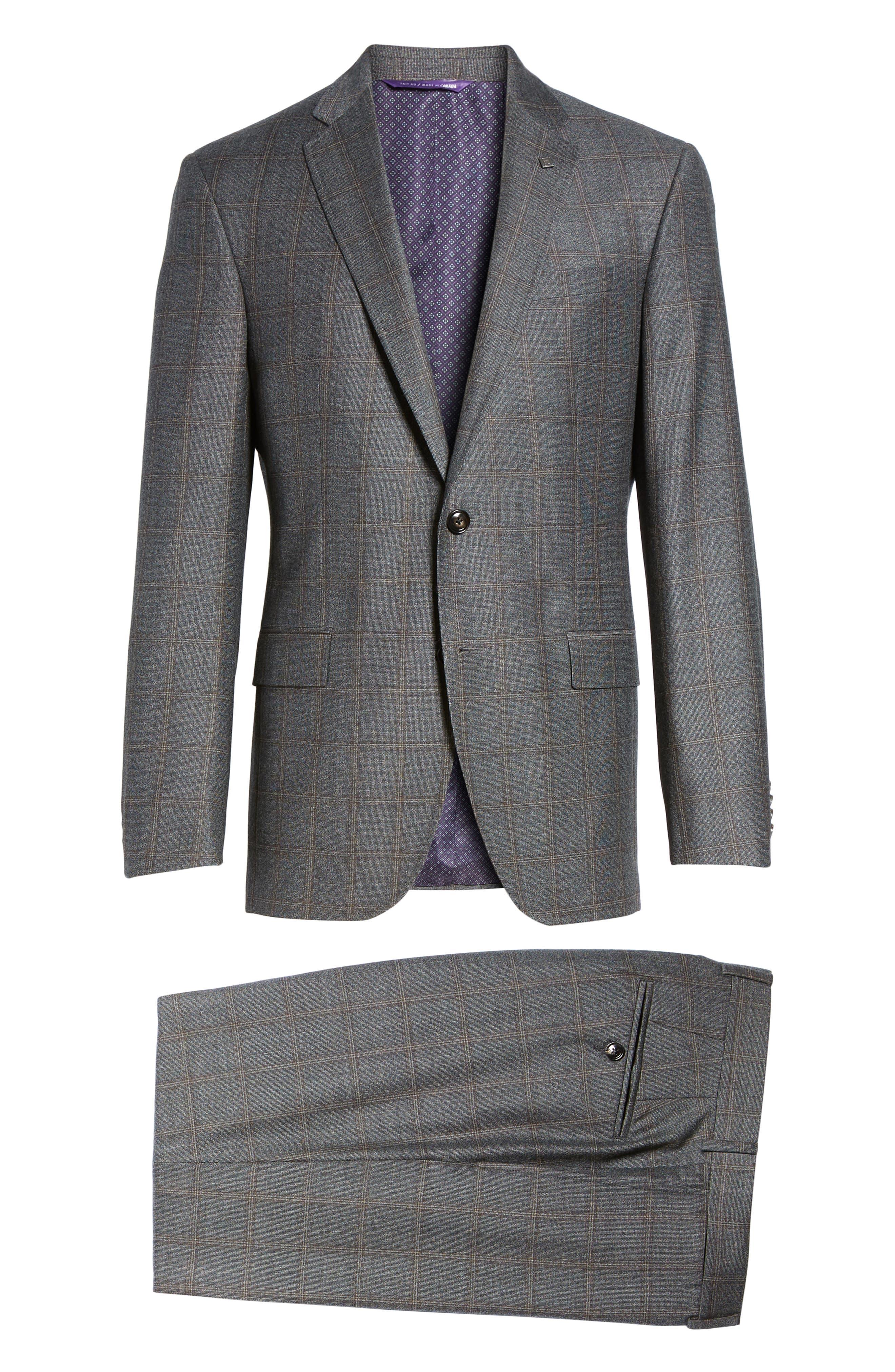 Trim Fit Plaid Wool Suit,                             Alternate thumbnail 8, color,                             Grey