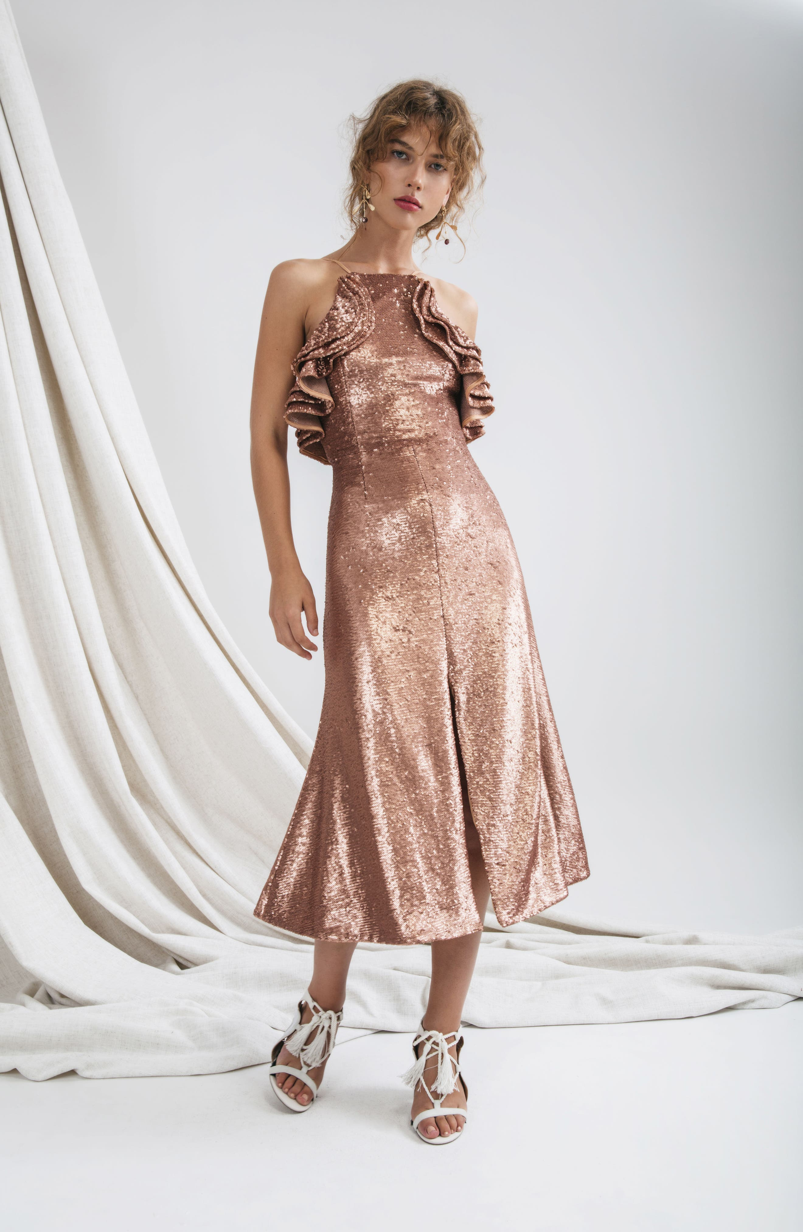 Illuminated Sequin Ruffle Midi Dress,                             Alternate thumbnail 2, color,                             Copper
