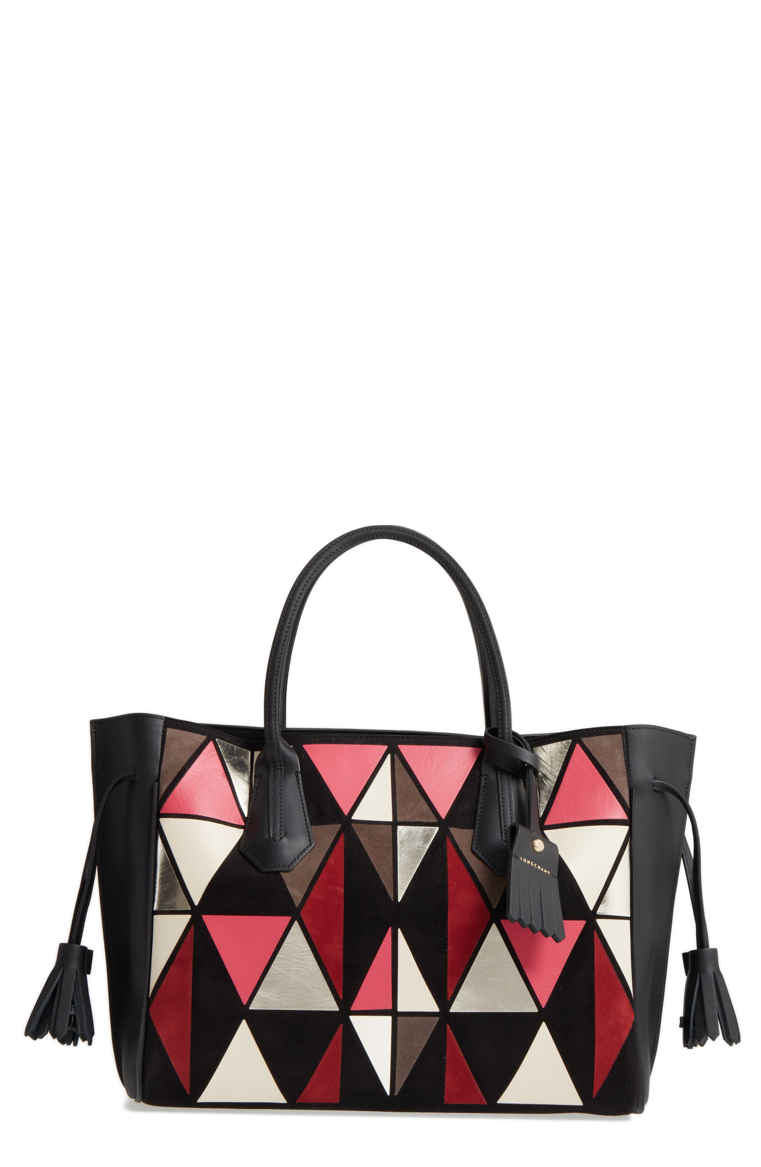 Penelope Arty Medium Leather & Suede Tote,                         Main,                         color, Red