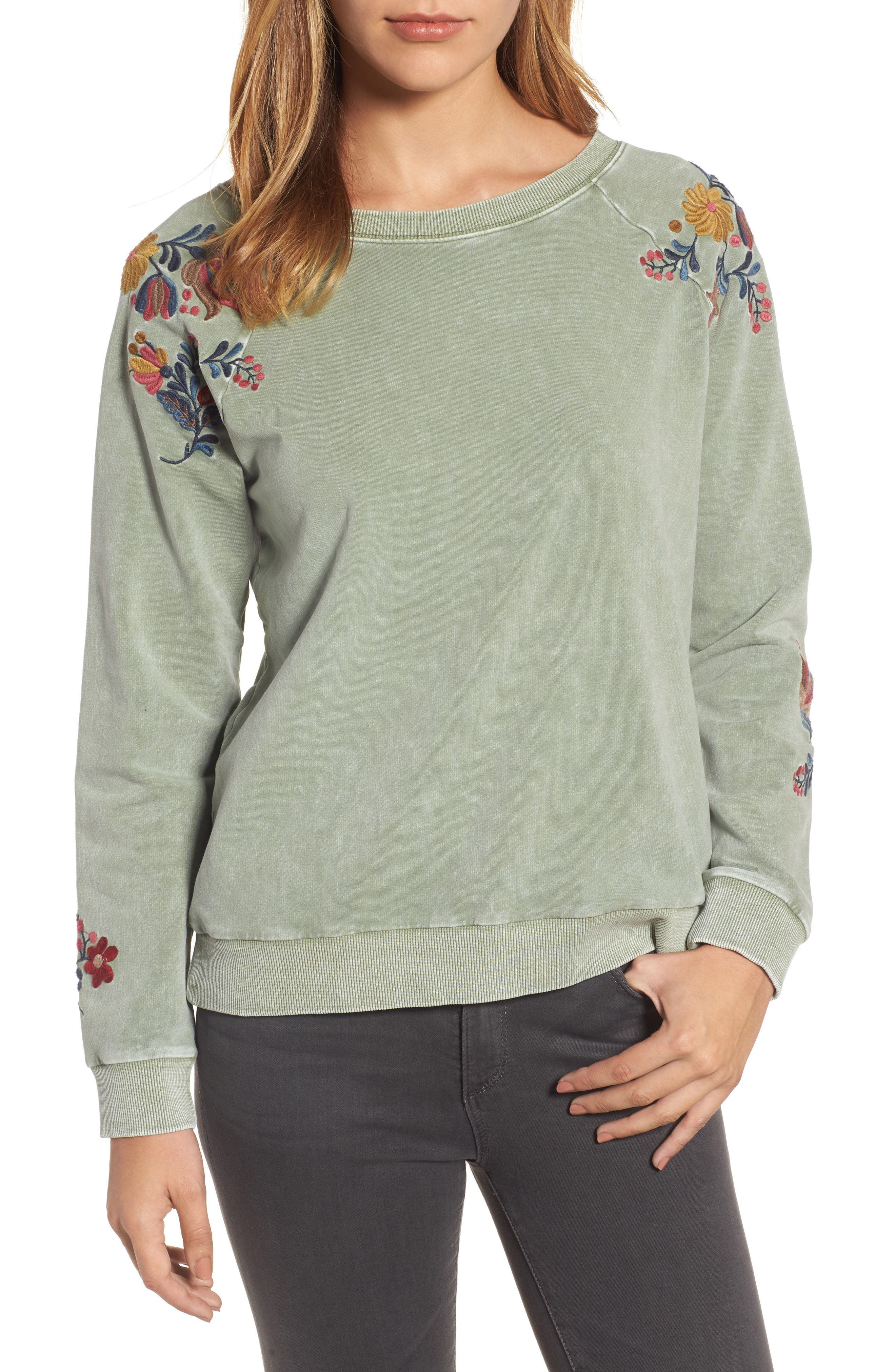 Embroidered Lace-Up Back Sweatshirt,                             Main thumbnail 1, color,                             Army