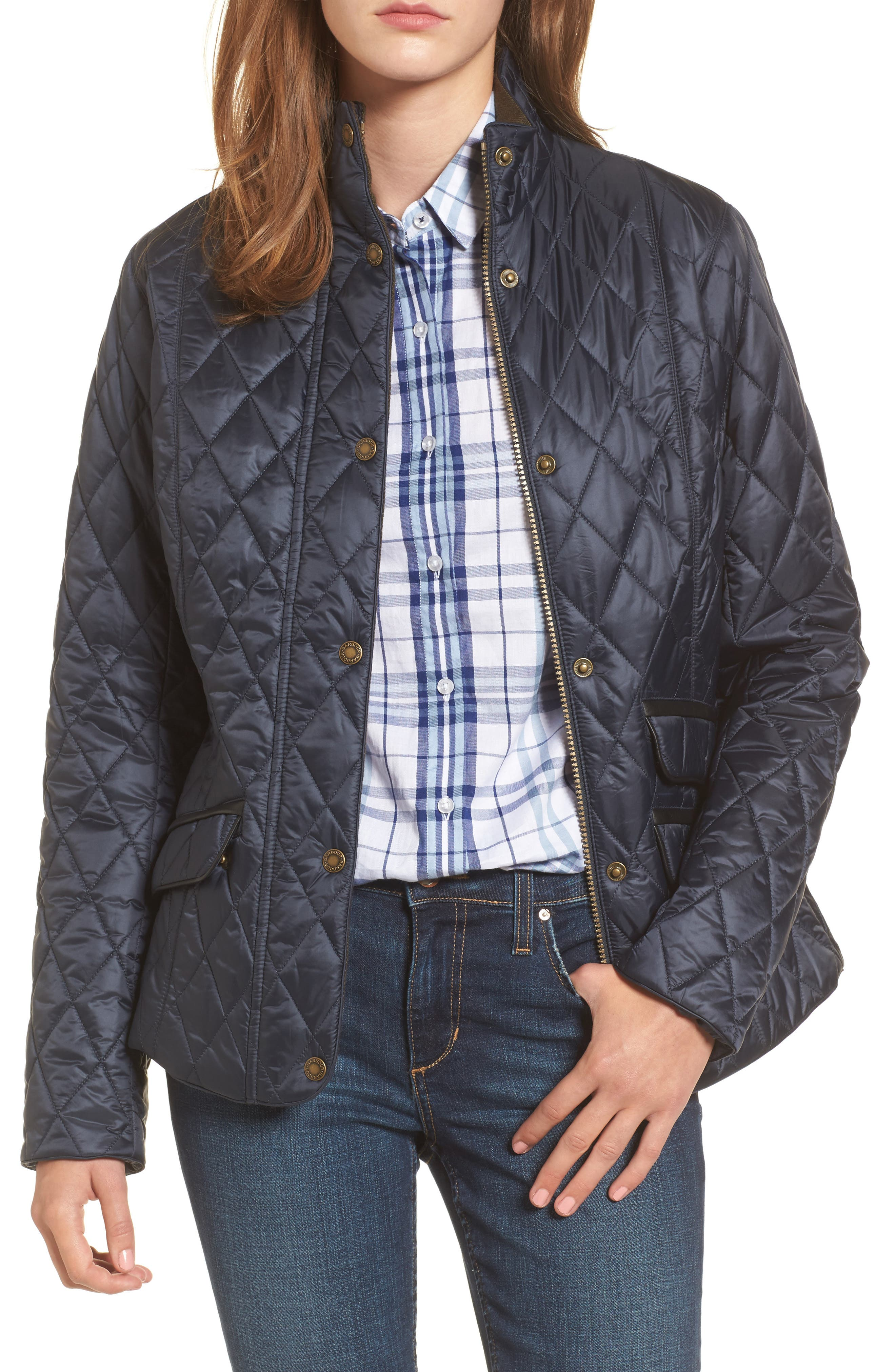 Augustus Water Resistant Quilted Jacket,                             Main thumbnail 1, color,                             Navy