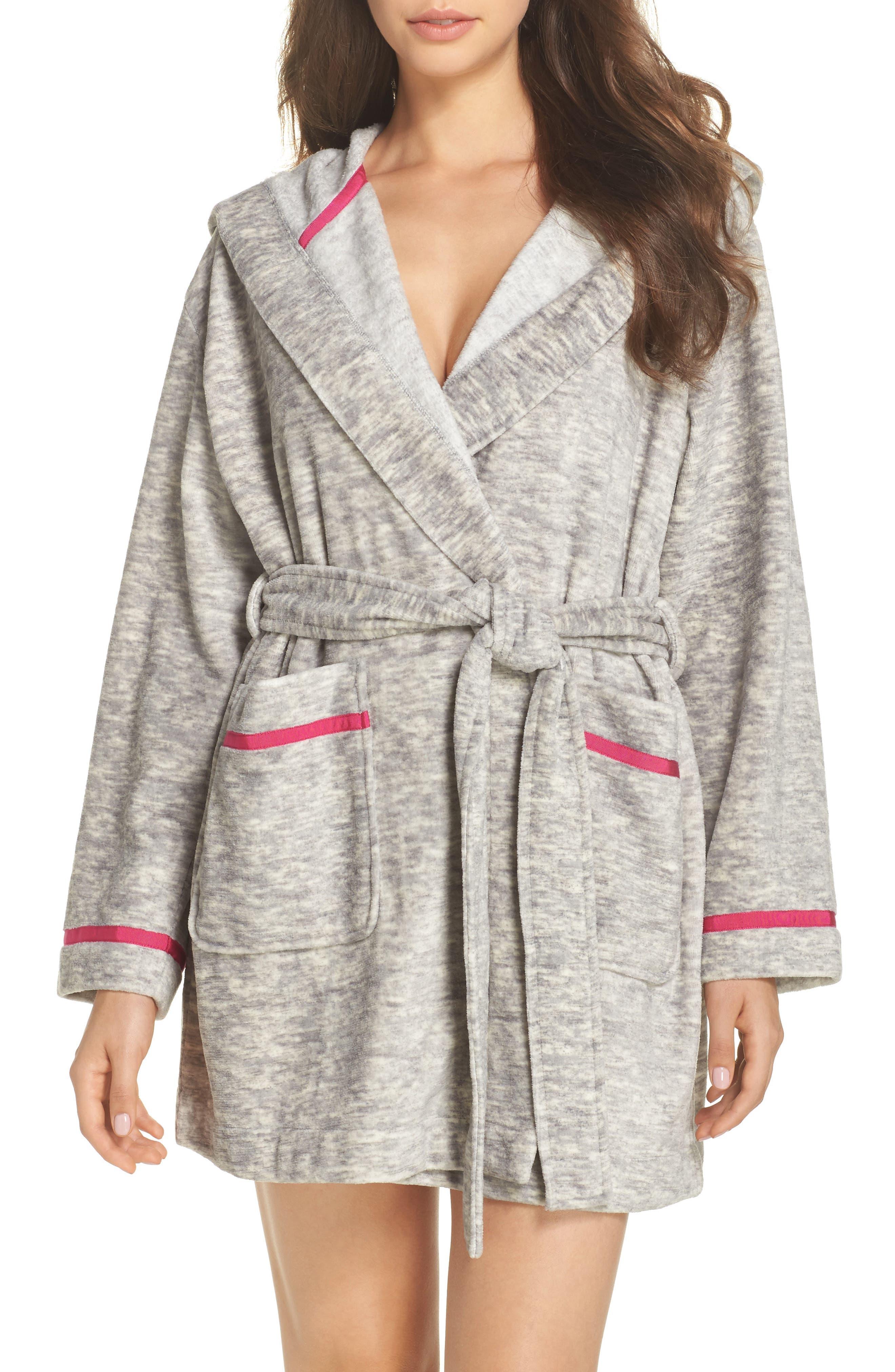 hooded short robe,                         Main,                         color, Light Grey