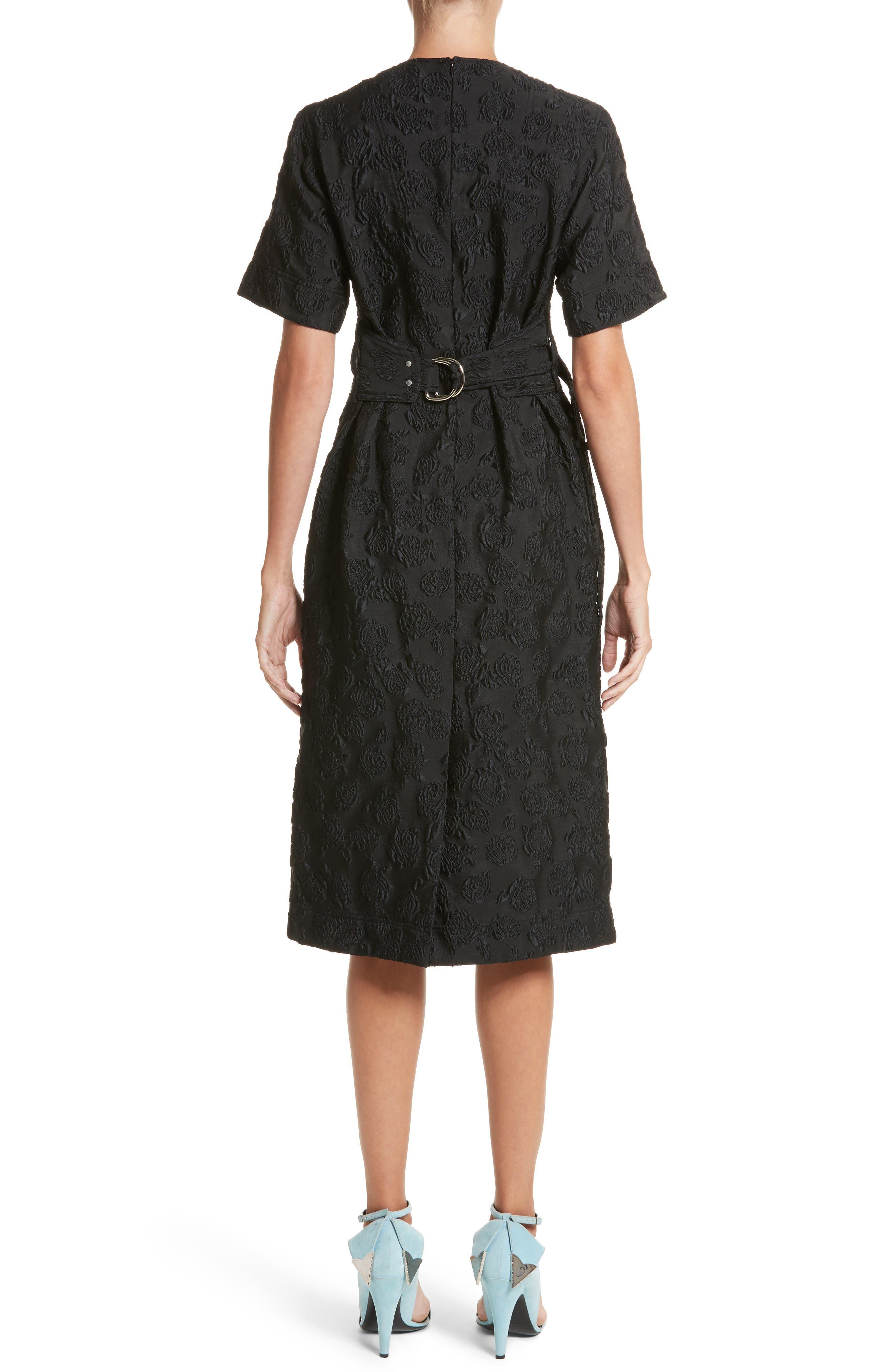 Rose Jacquard Dress,                             Alternate thumbnail 2, color,                             Black