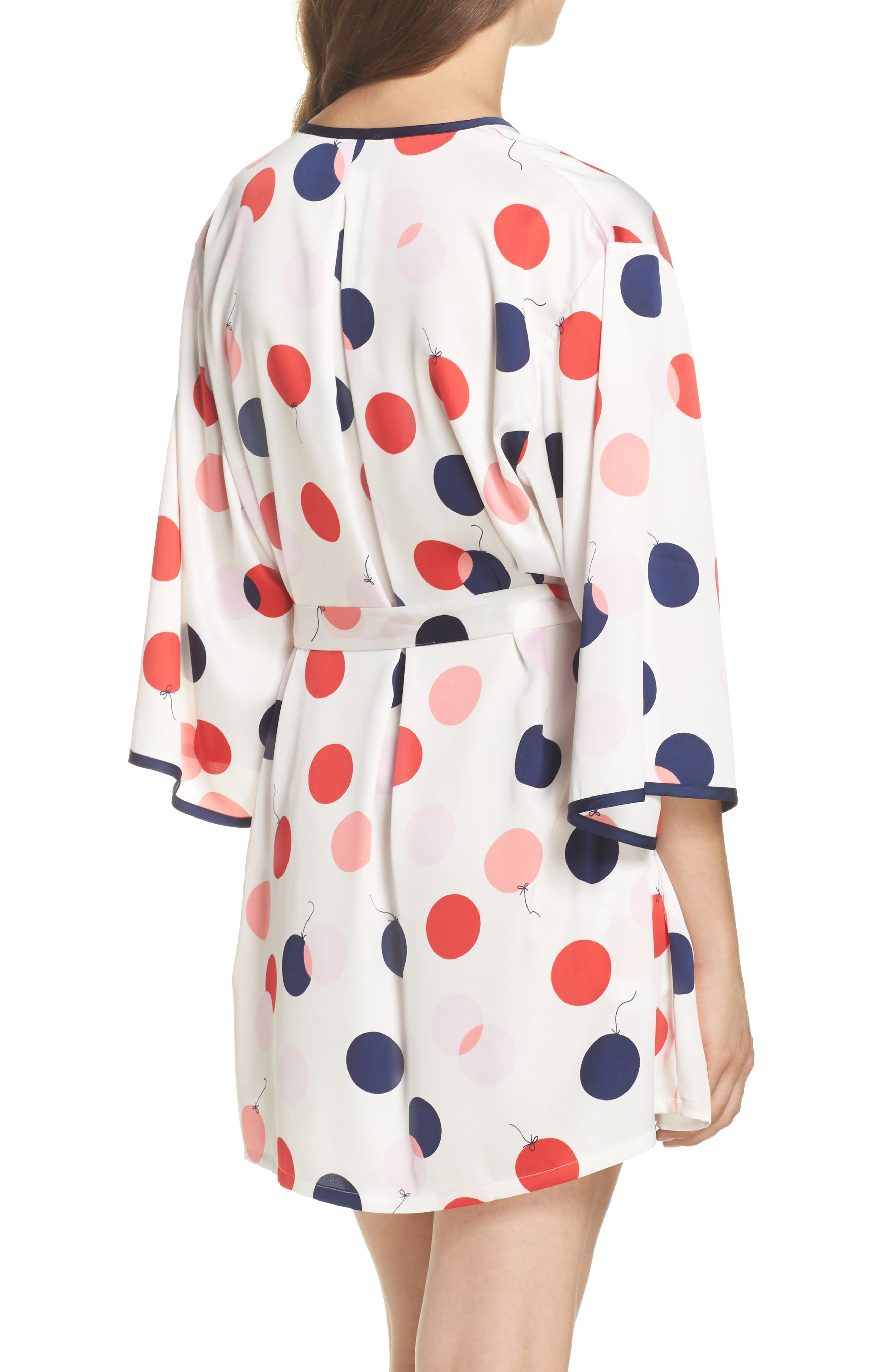 charmeuse short robe,                             Alternate thumbnail 2, color,                             White/ Red