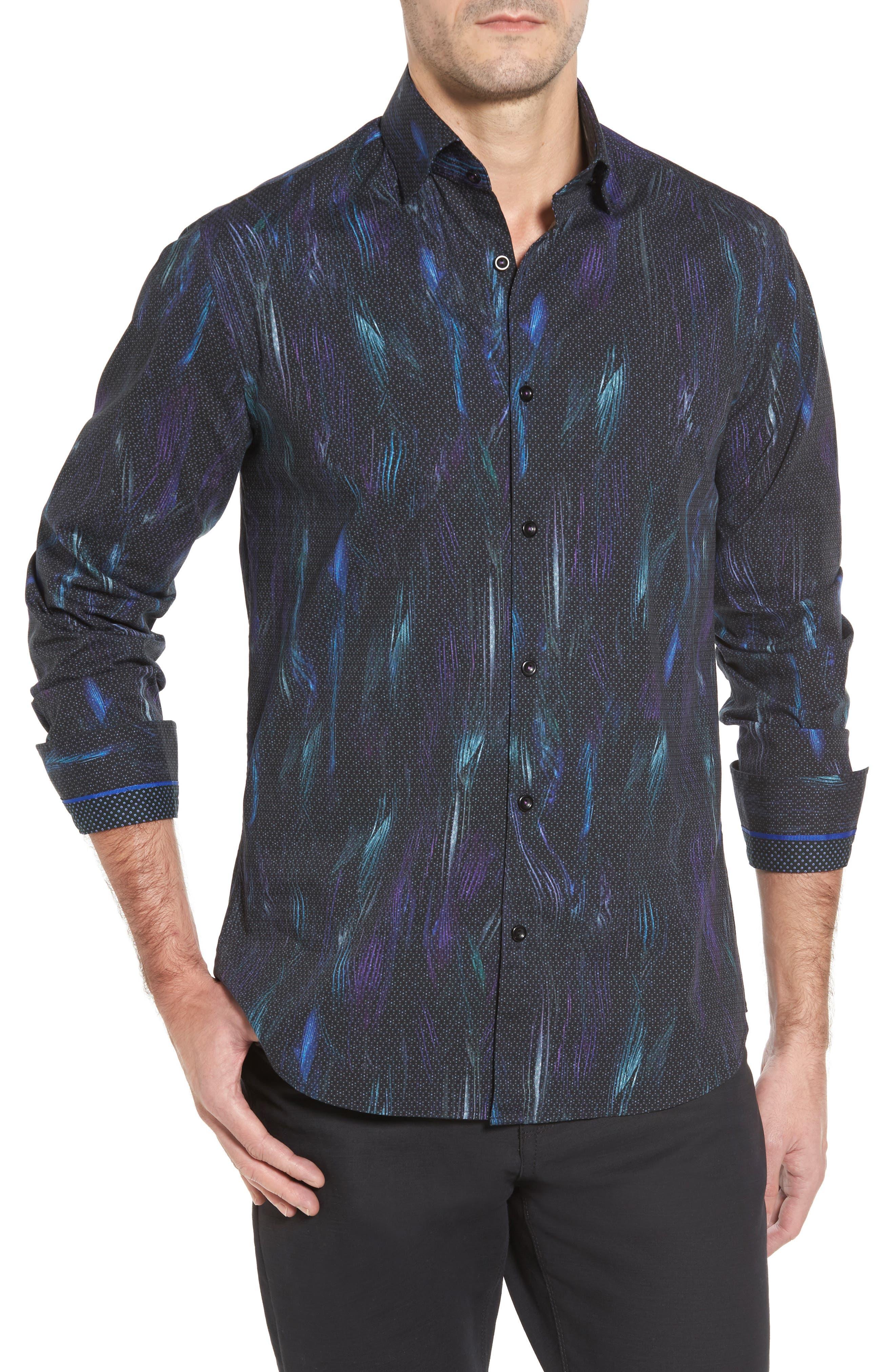 Slim Fit Geo FX Print Sport Shirt,                             Main thumbnail 1, color,                             Black