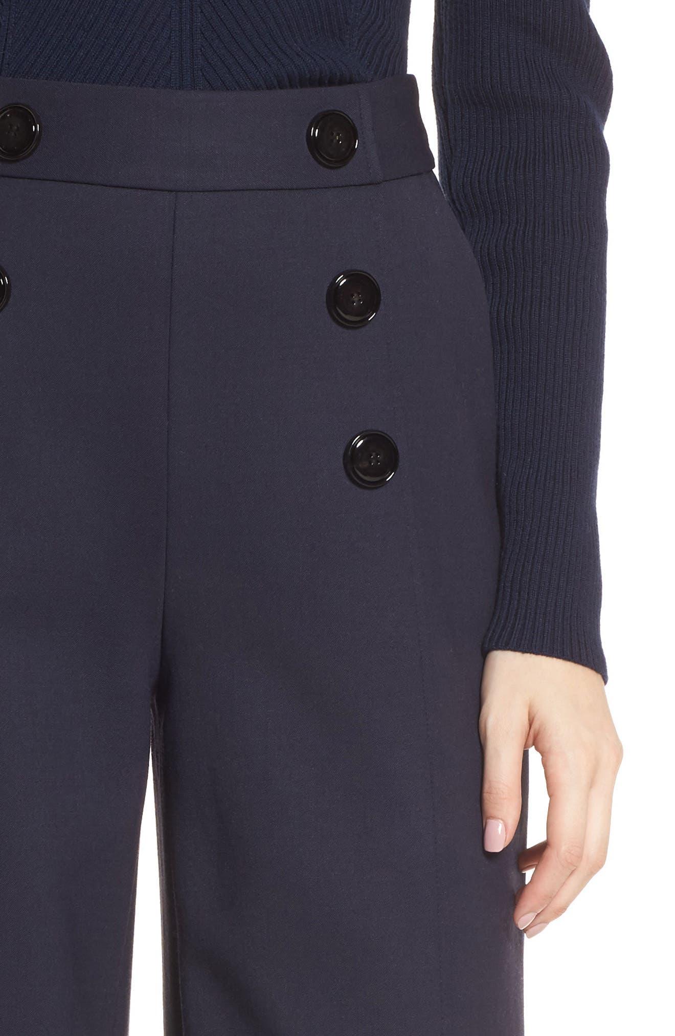 Button Detail Wide Leg Trouser,                             Alternate thumbnail 4, color,                             Navy Night