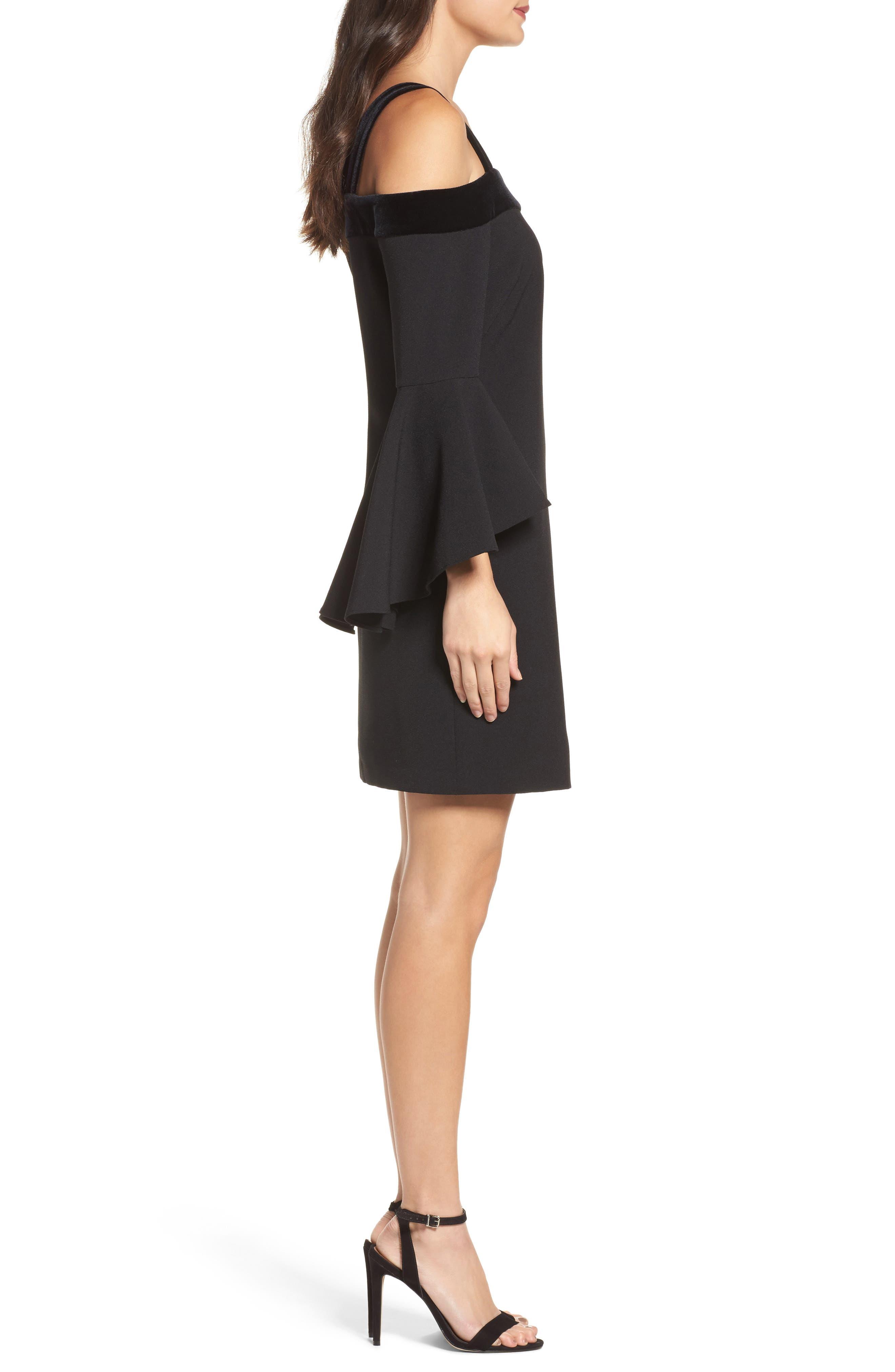 Bell Sleeve Cold Shoulder Shift Dress,                             Alternate thumbnail 3, color,                             Black