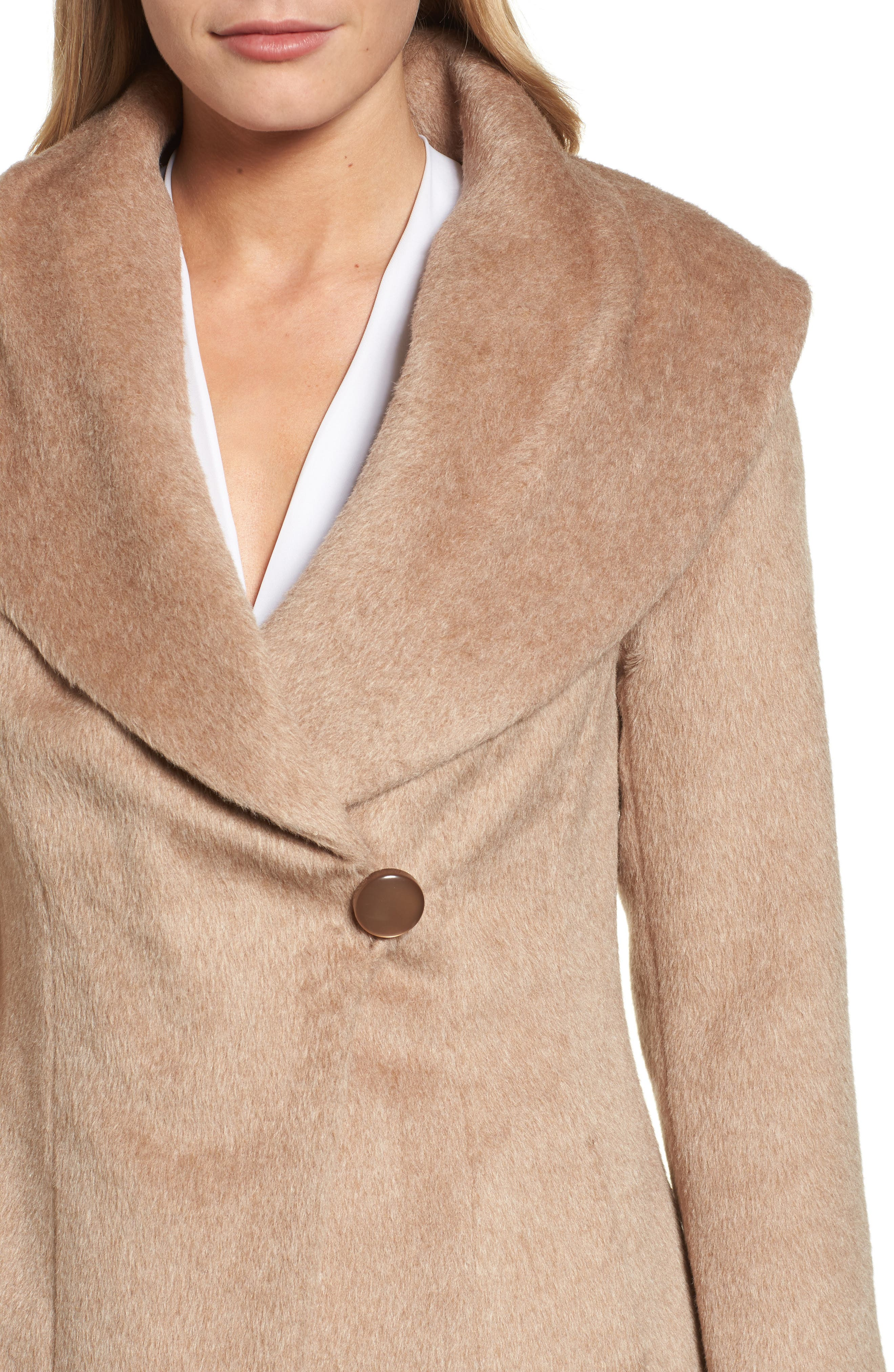 Jemma Shawl Collar Coat,                             Alternate thumbnail 4, color,                             Fawn