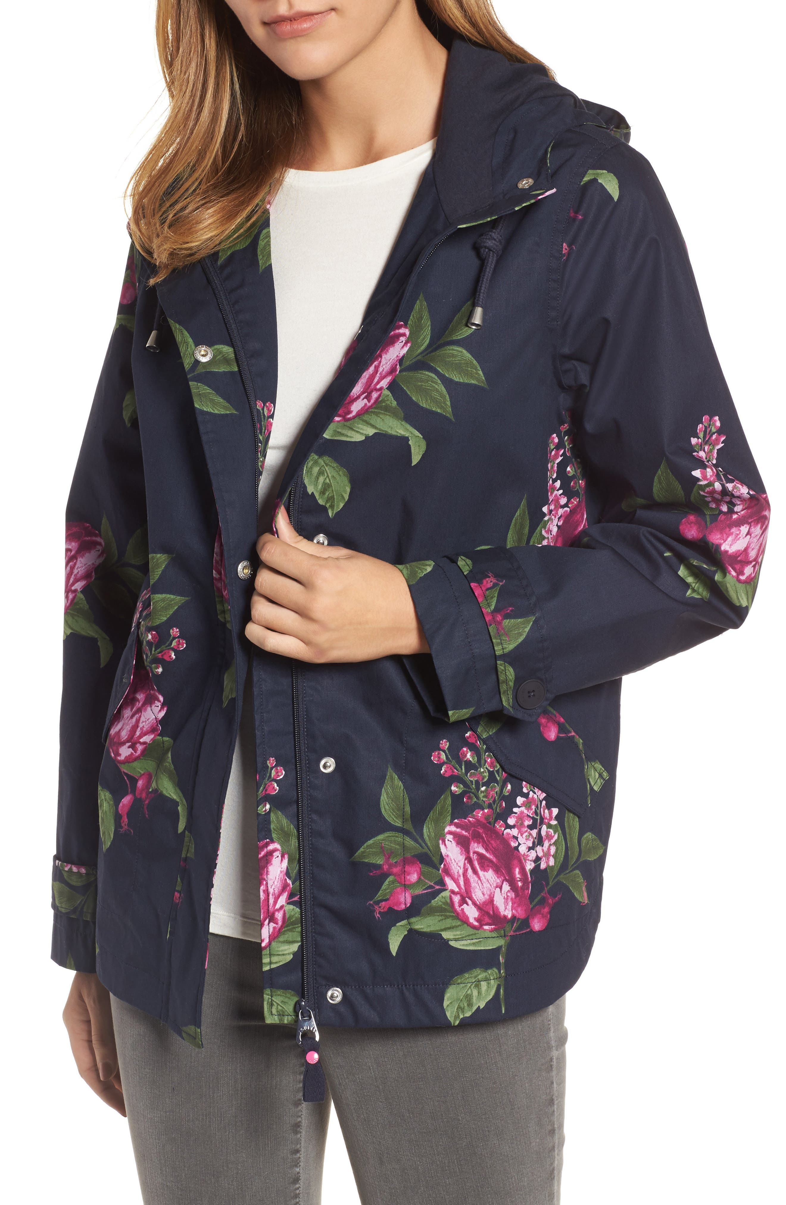 Main Image - Joules Right as Rain Print Waterproof Hooded Jacket