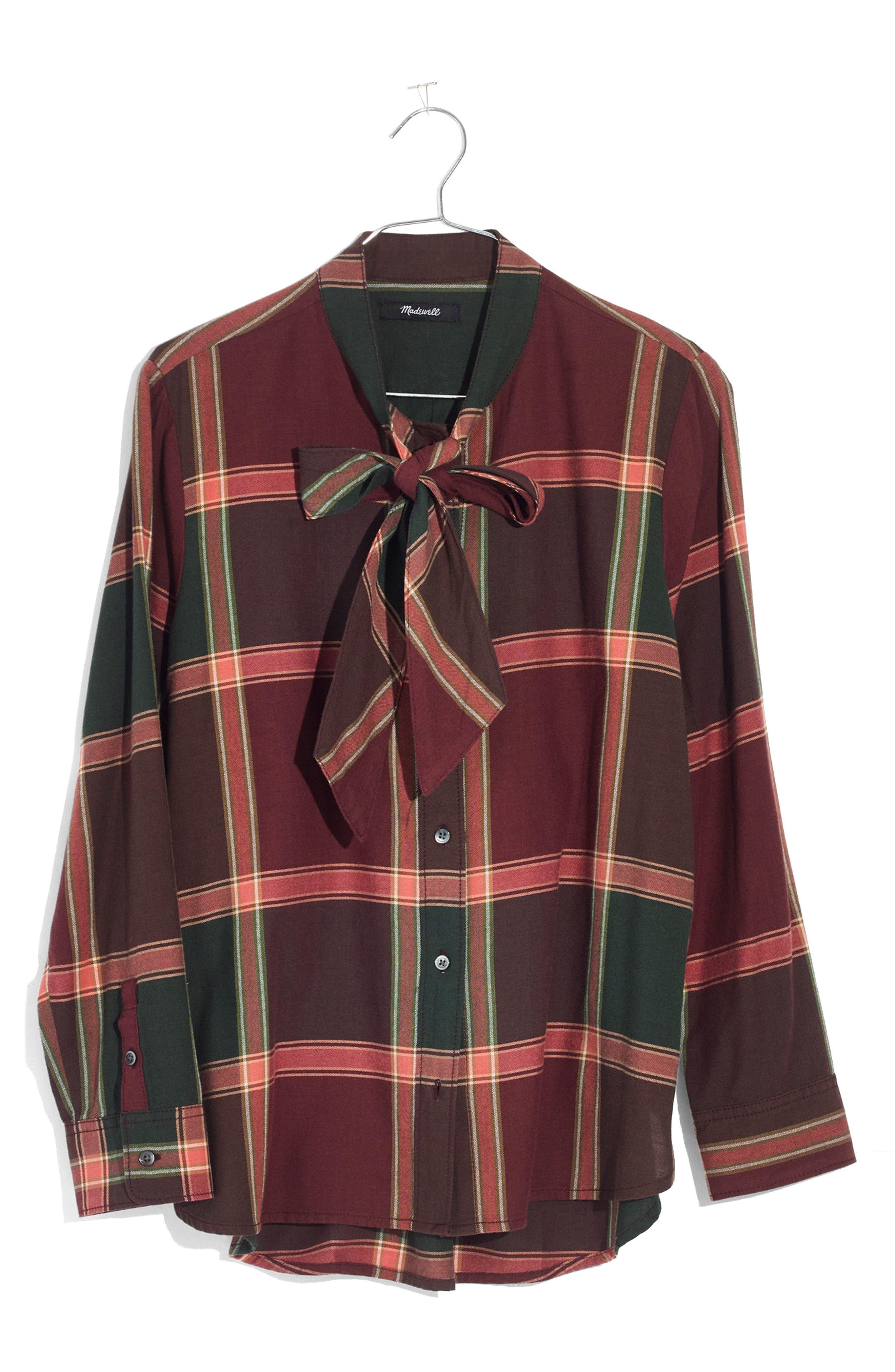 Plaid Tie Neck Shirt,                             Alternate thumbnail 4, color,                             Cherry Wood