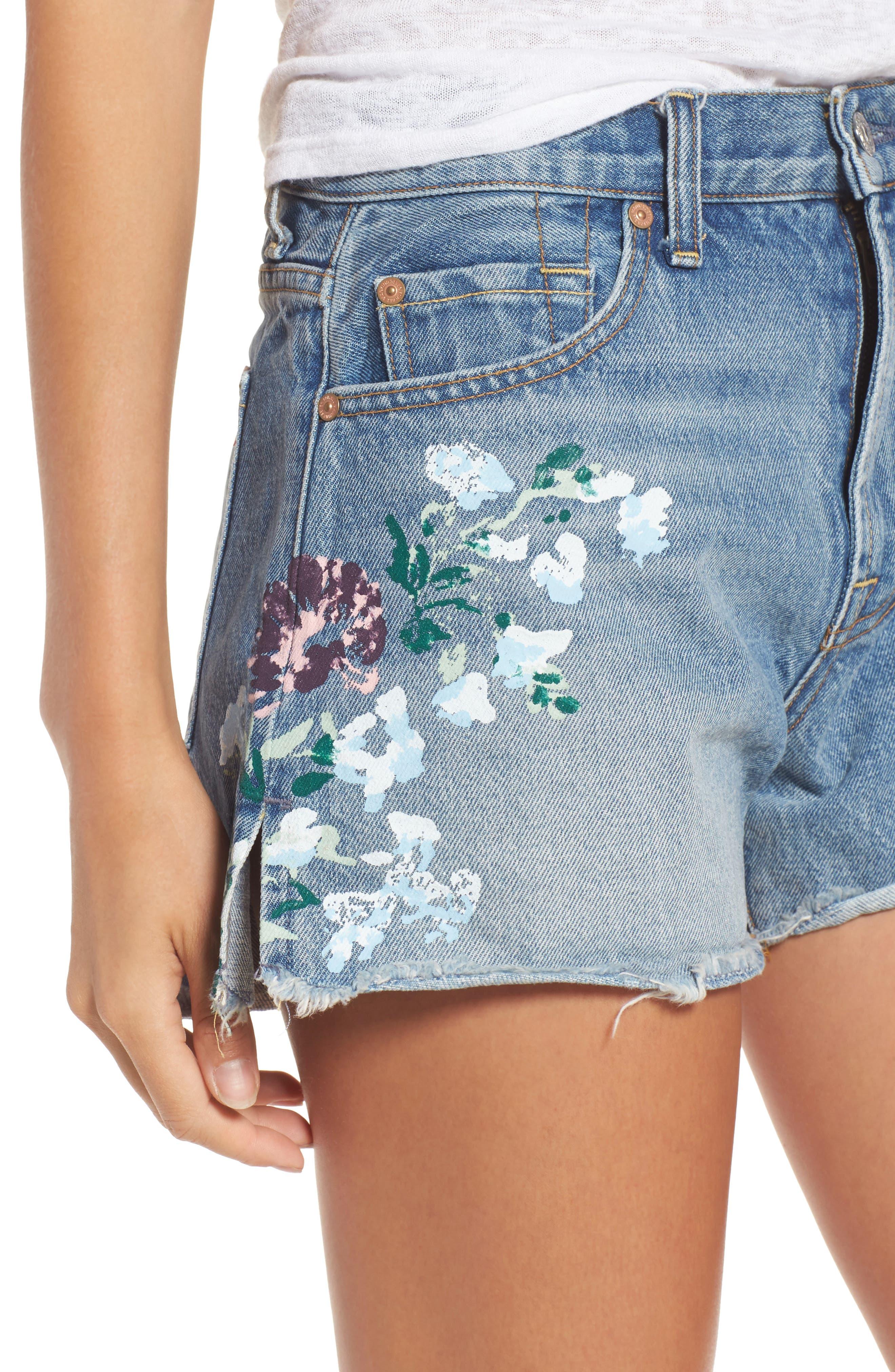 Handpainted Cutoff Denim Shorts,                             Alternate thumbnail 4, color,                             Vintage Wythe Painted Floral