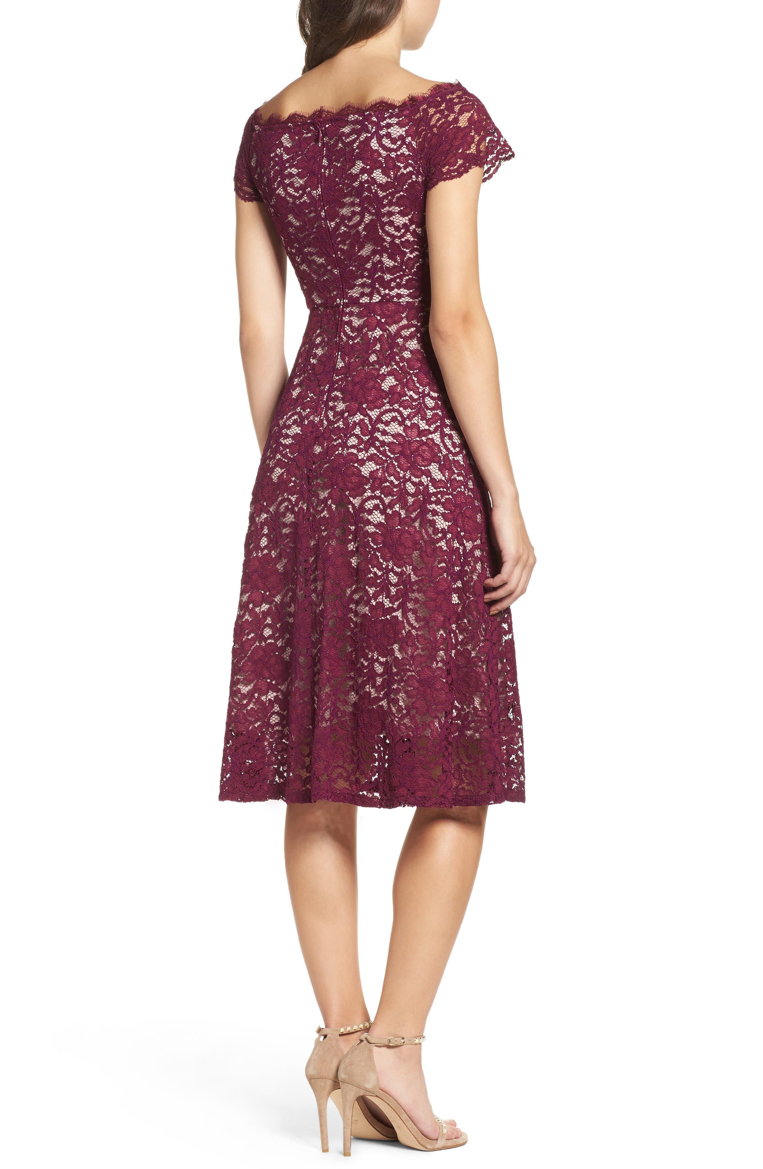 Lace Fit & Flare Dress,                             Alternate thumbnail 2, color,                             Dark Magenta