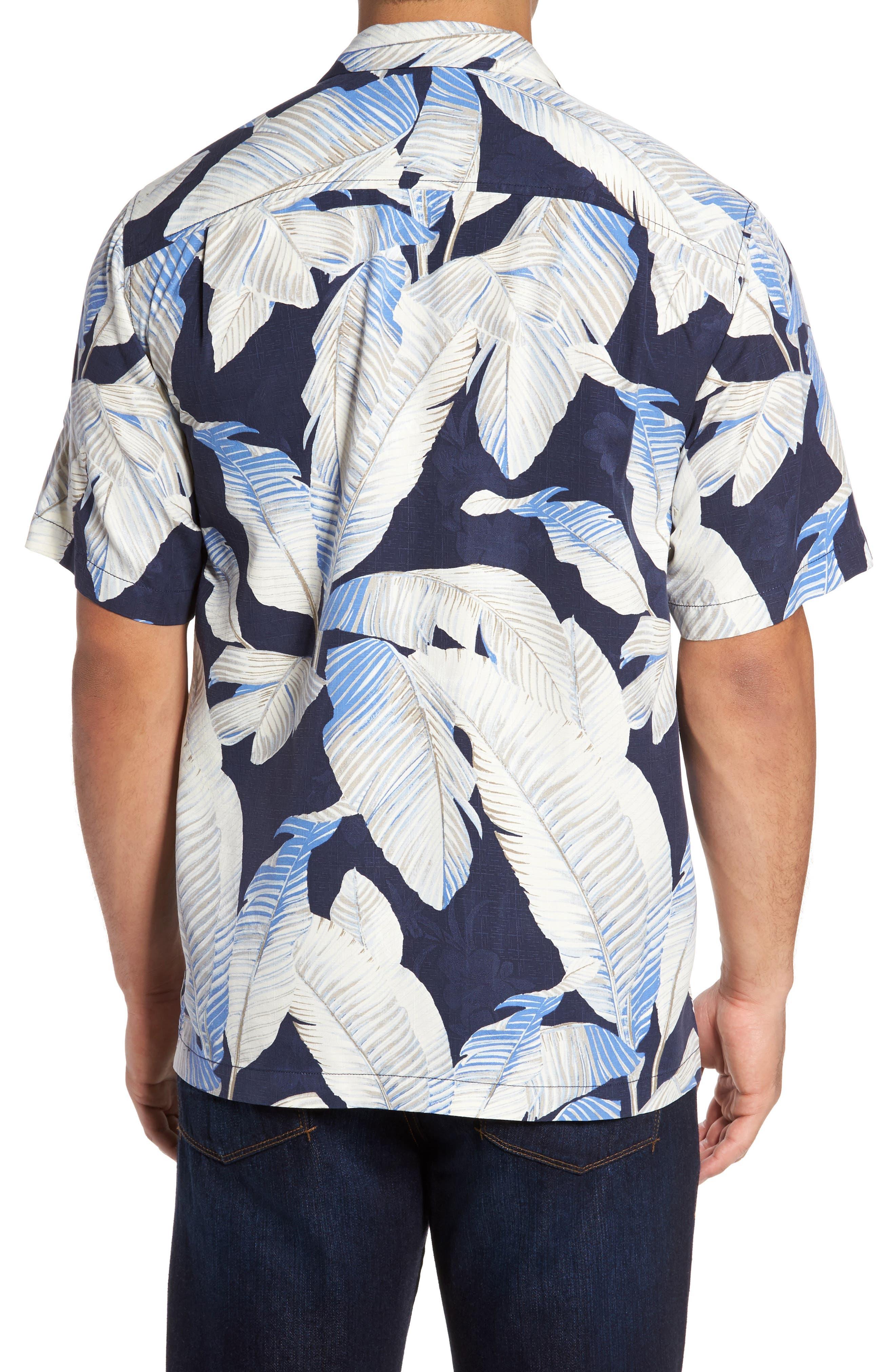 Cascara Fronds Silk Camp Shirt,                             Alternate thumbnail 2, color,                             Ocean Deep