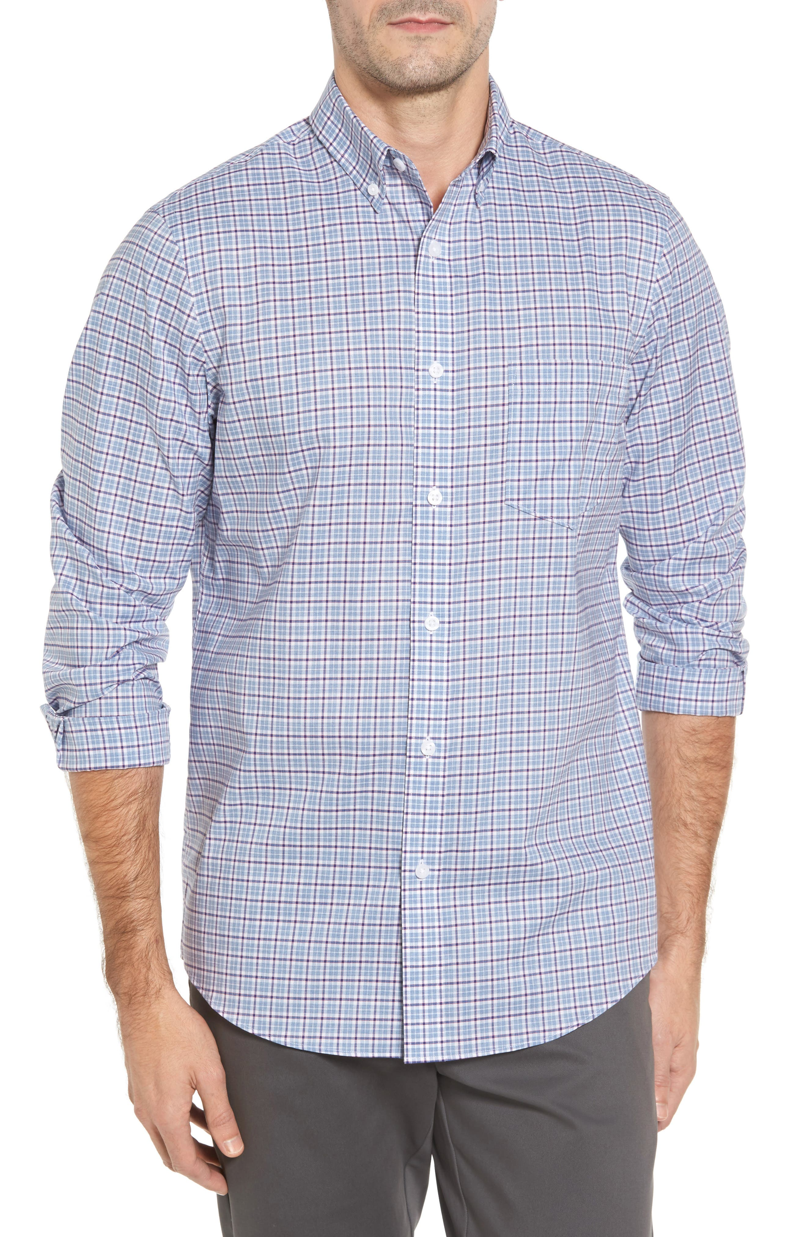 Non-Iron Regular Fit Check Sport Shirt,                         Main,                         color, Blue Cashmere White Check