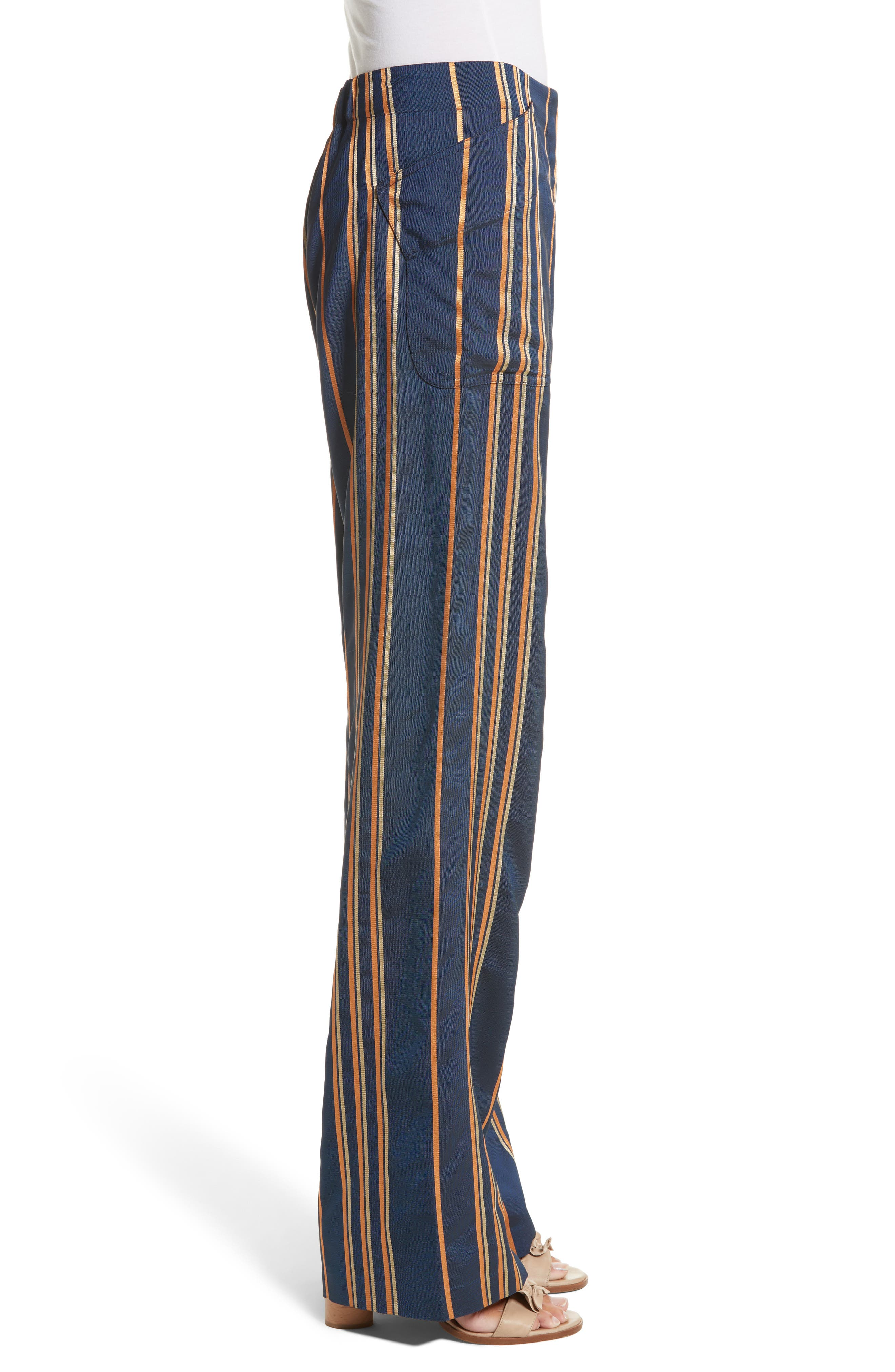 Stripe Pants,                             Alternate thumbnail 4, color,                             Mykonos/Papaya