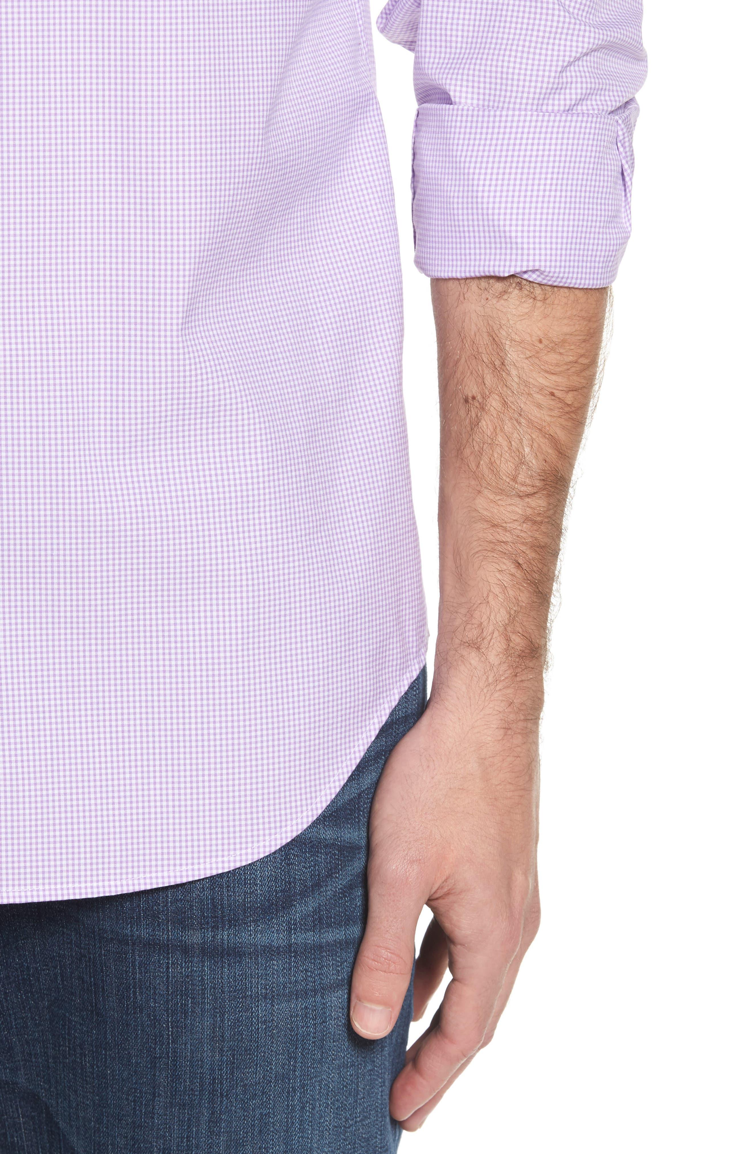 Seaboard Classic Fit Gingham Sport Shirt,                             Alternate thumbnail 4, color,                             Sea Urchin
