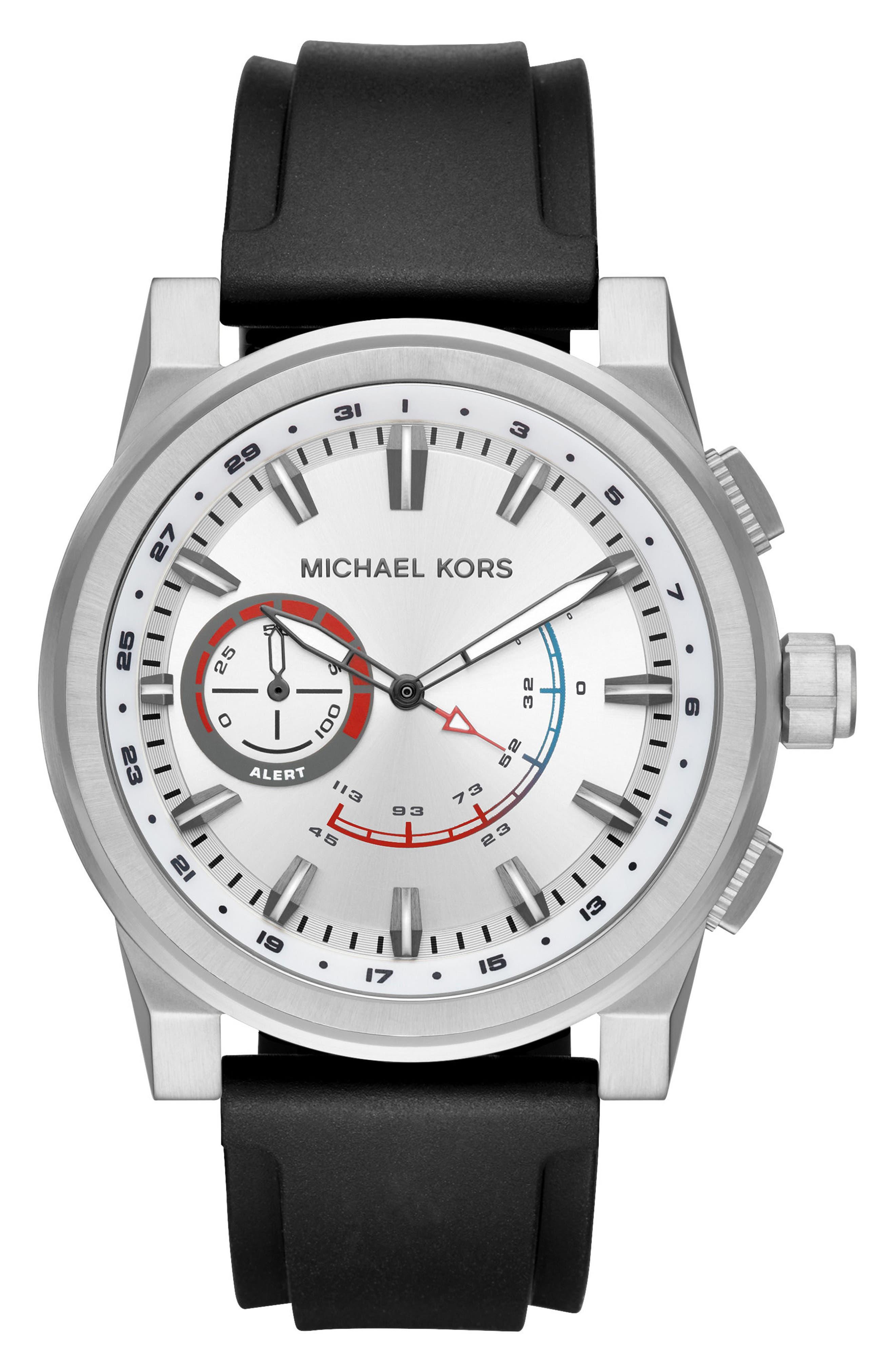 Grayson Hybrid Silicone Strap Smart Watch, 47mm,                             Main thumbnail 1, color,                             Black/ Silver