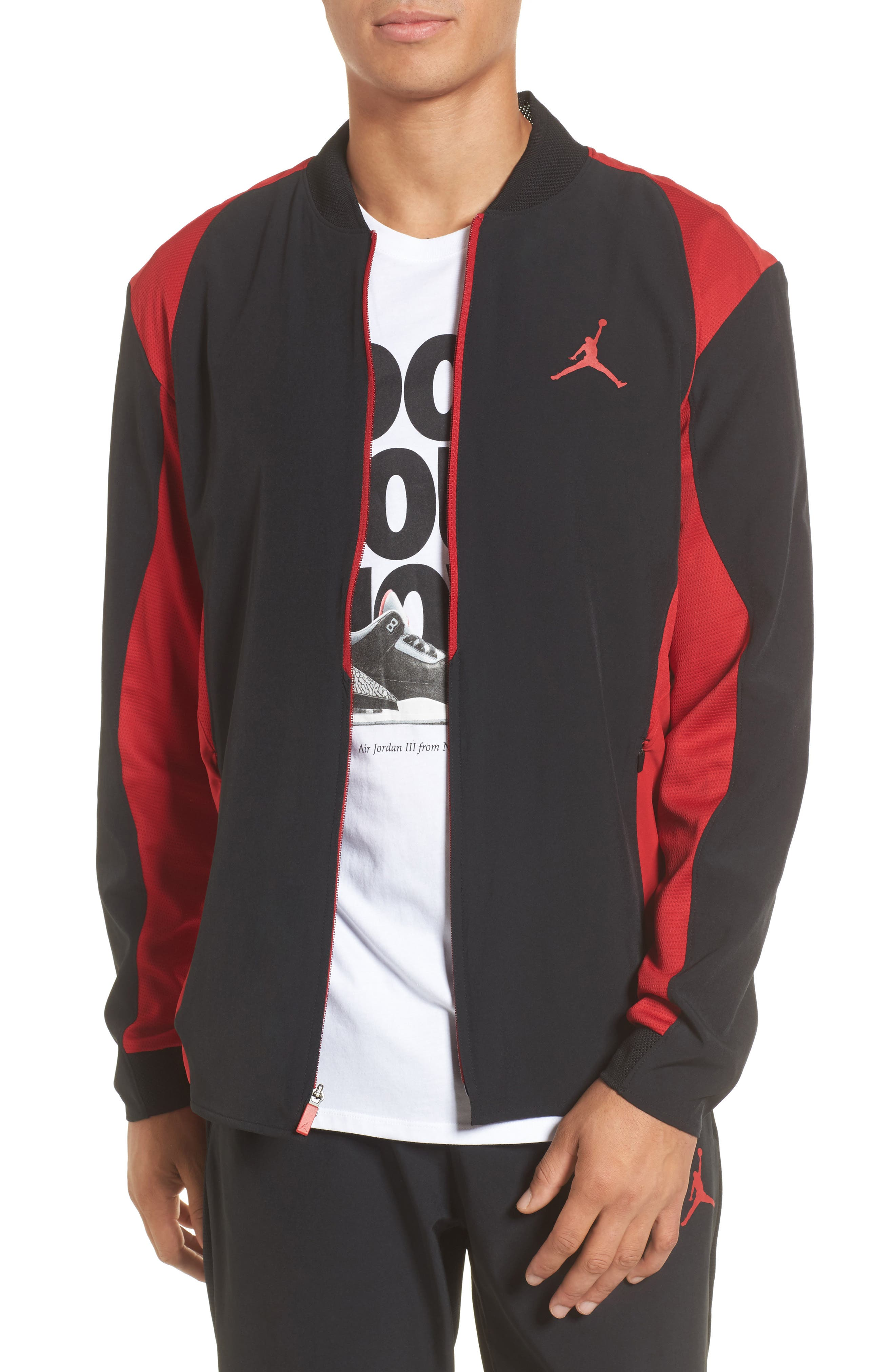 Ultimate Flight Zip Jacket,                         Main,                         color, Black/ Gym Red
