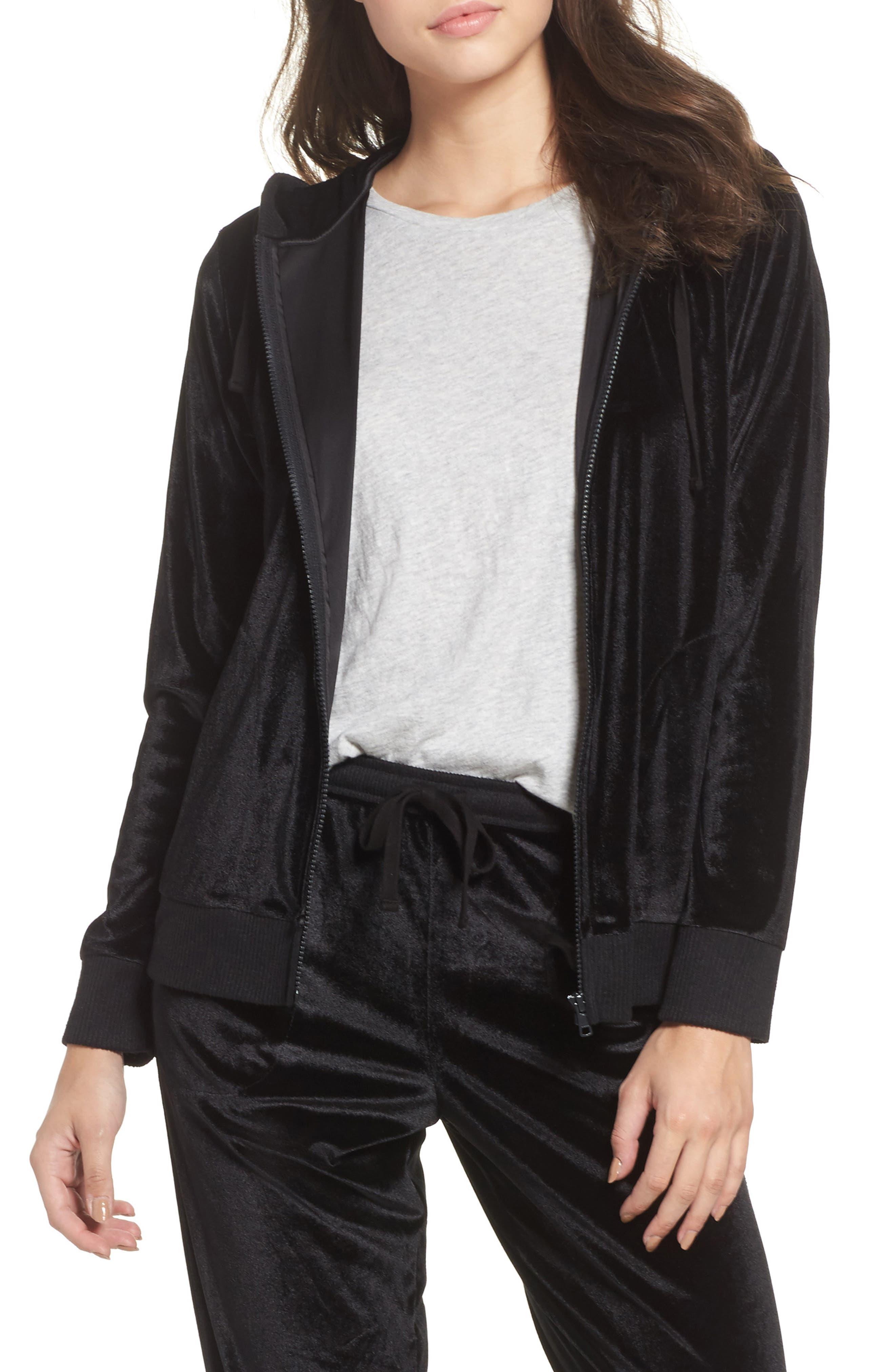 Velour Zip Hoodie,                         Main,                         color, Black