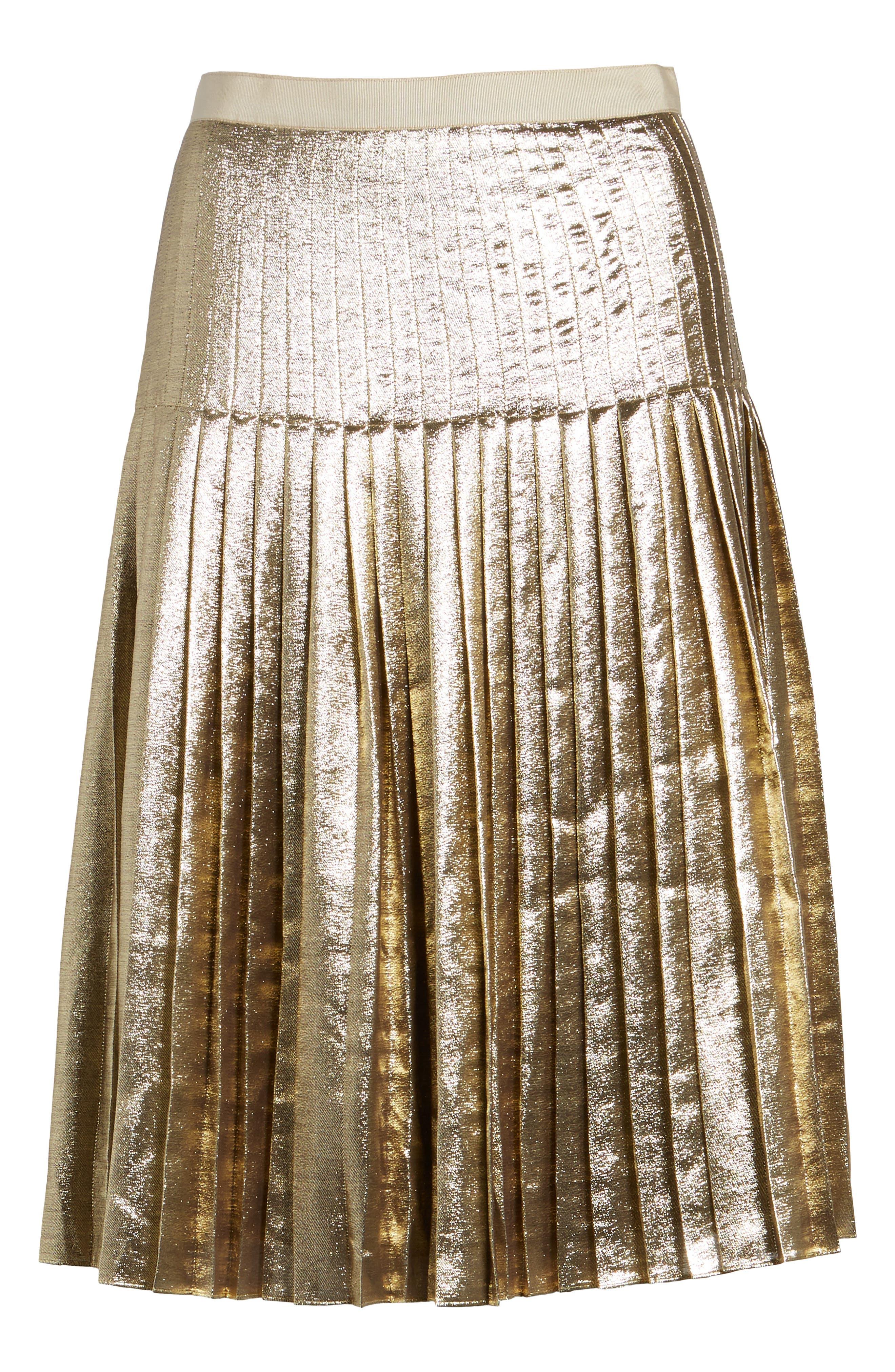 Alternate Image 6  - Lewit Pleated Metallic Skirt