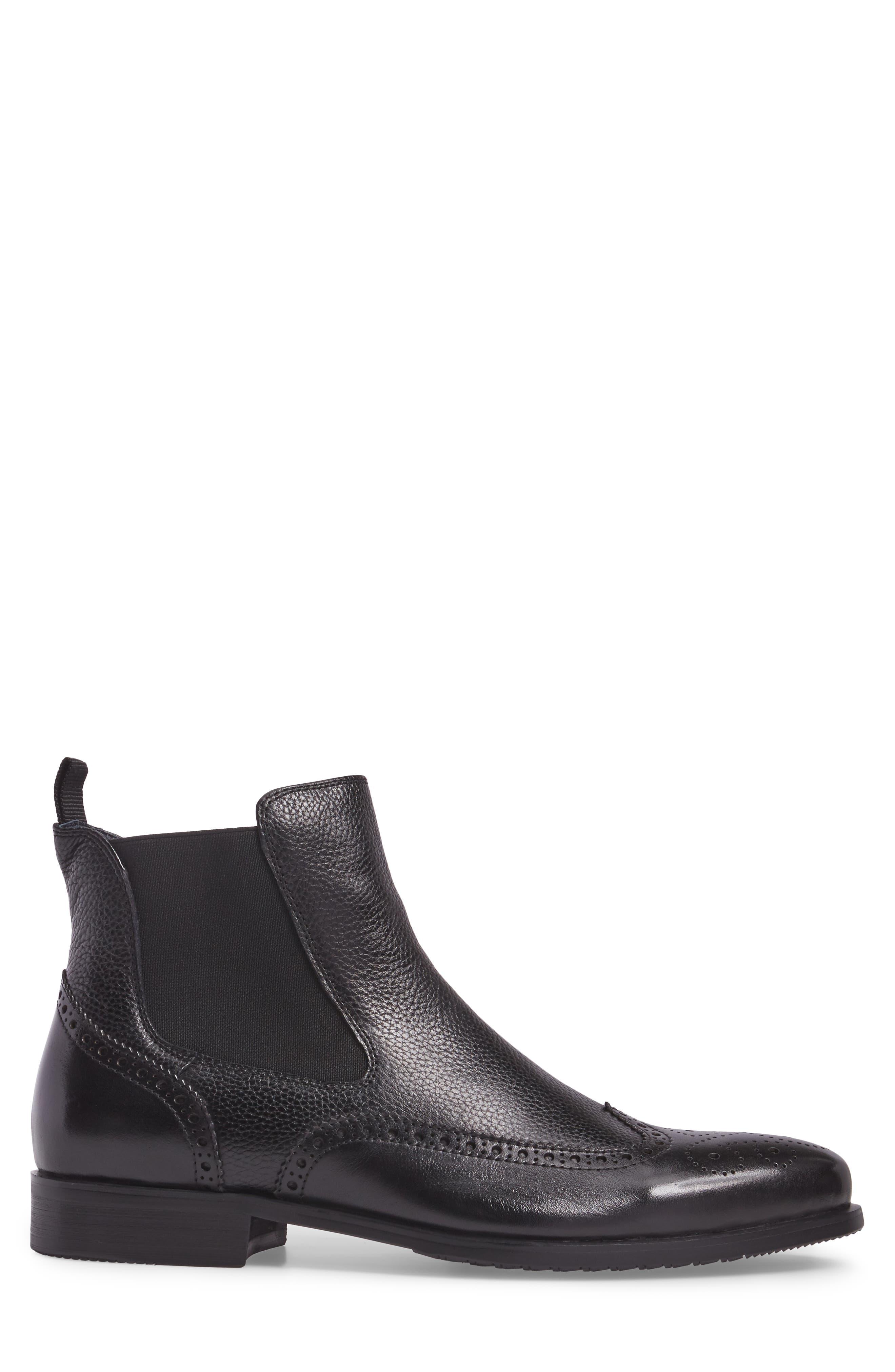 Hamel Chelsea Boot,                             Alternate thumbnail 3, color,                             Black Leather