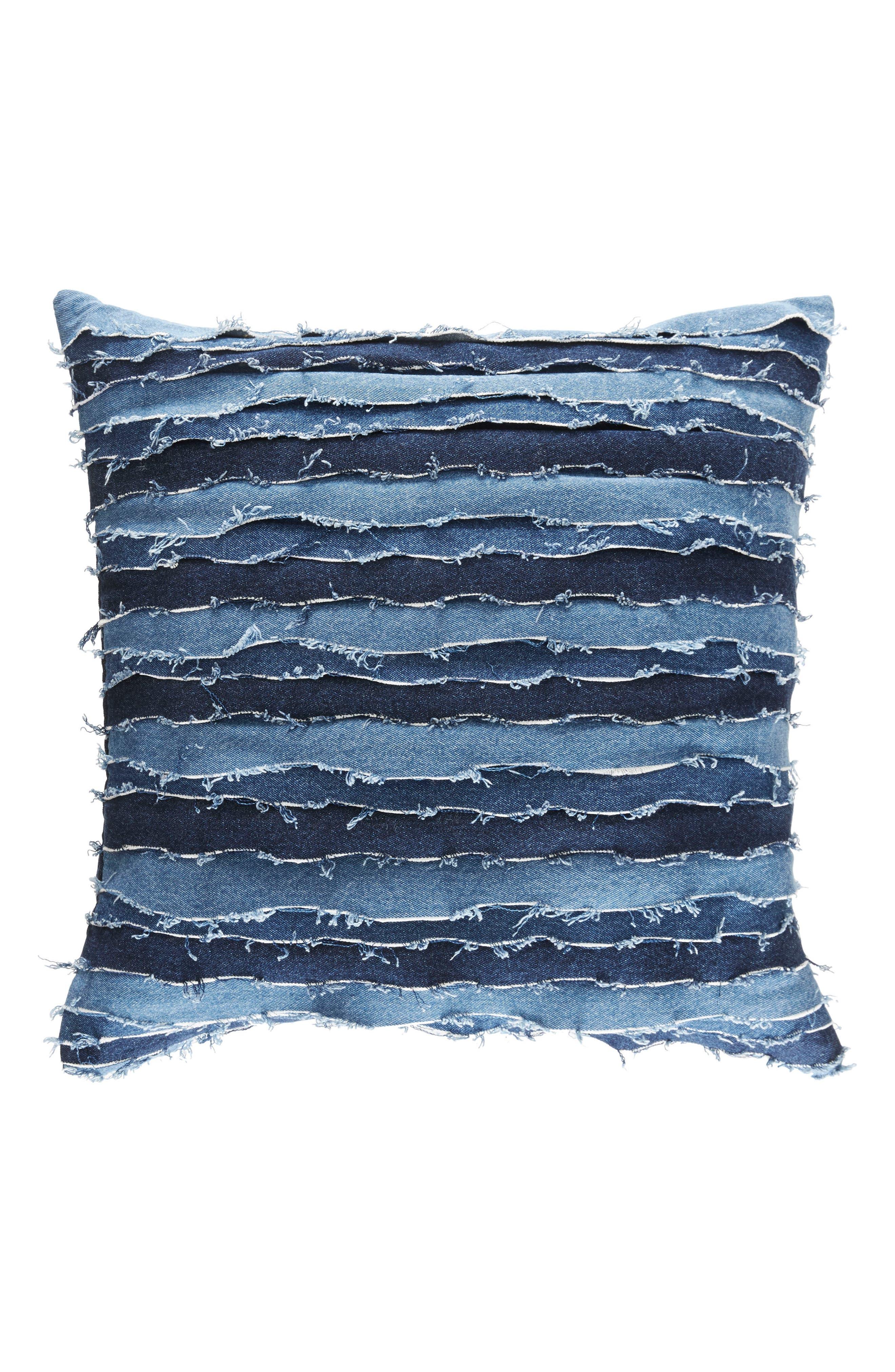 Destroyed Denim Accent Pillow,                             Main thumbnail 1, color,                             Denim Blue