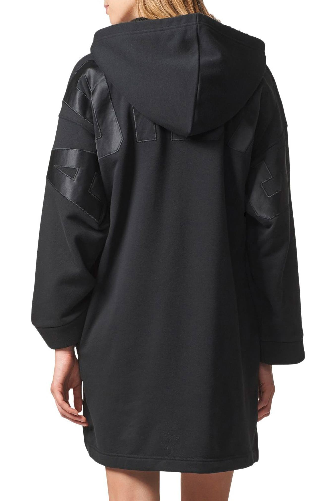 Originals Hooded French Terry Dress,                             Alternate thumbnail 2, color,                             Black