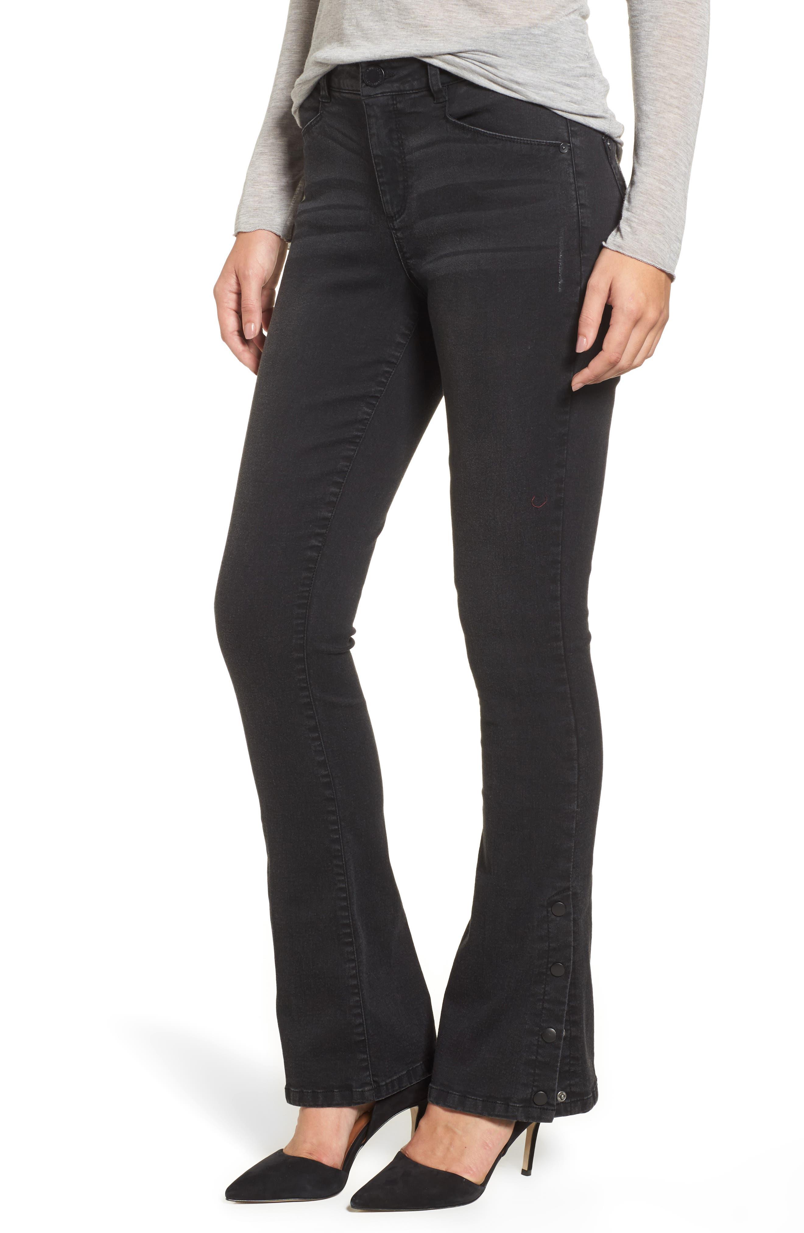 Snap Hem Itty Bitty Bootcut Jeans,                         Main,                         color, Black