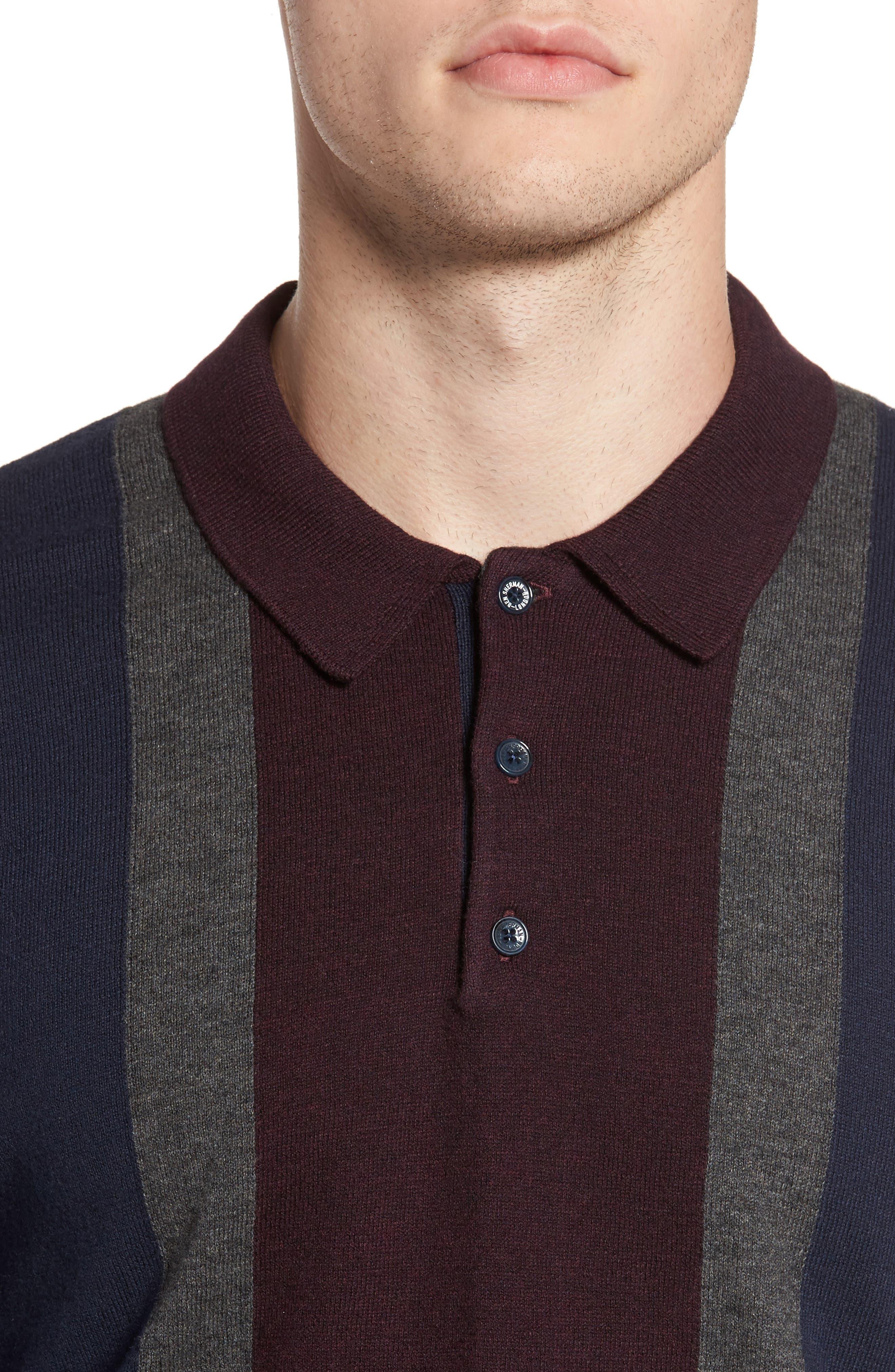 Colorblock Long Sleeve Polo,                             Alternate thumbnail 4, color,                             Navy