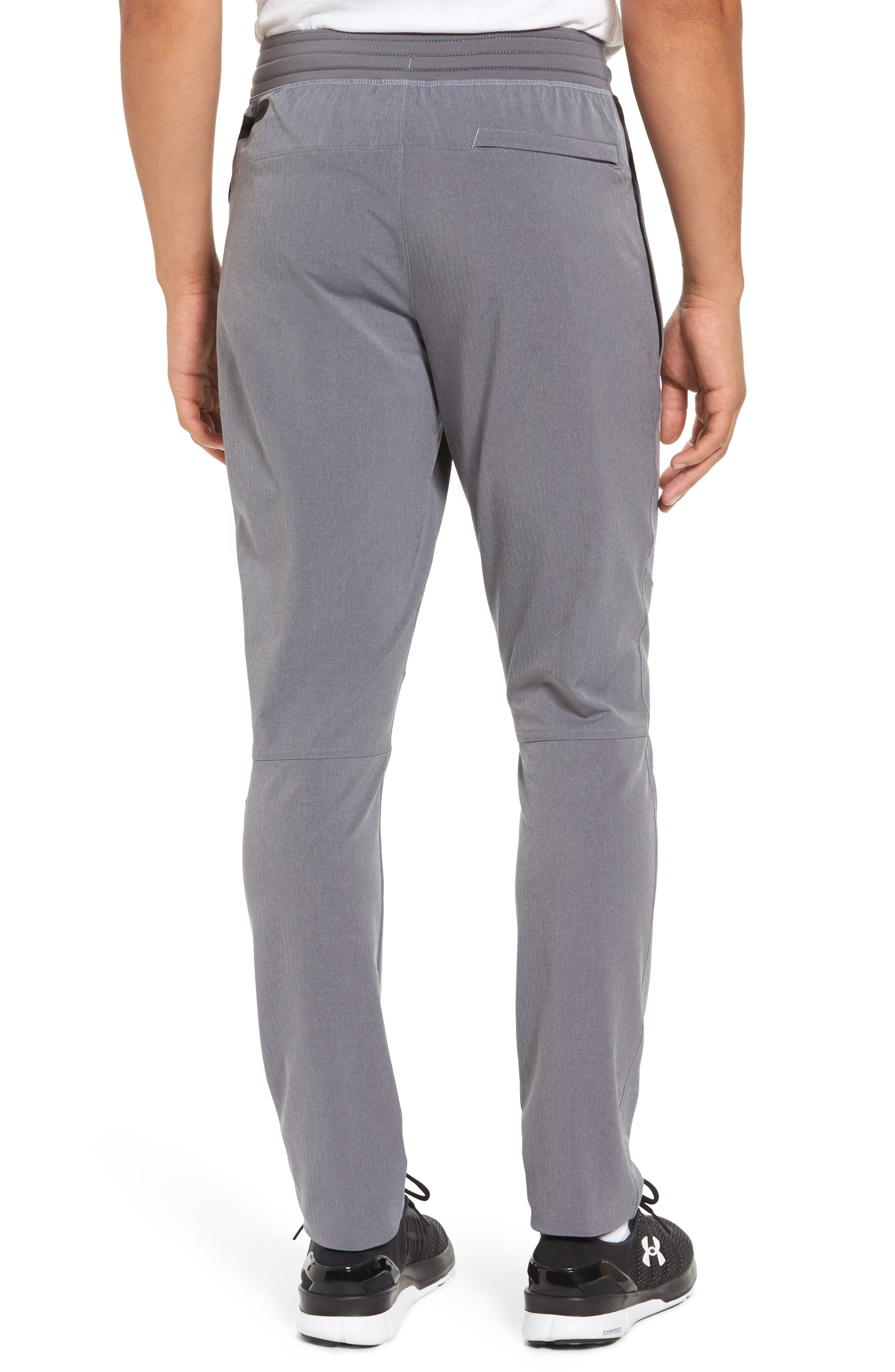 Fitted Woven Training Pants,                             Alternate thumbnail 2, color,                             Grey Heather / Black / Steel