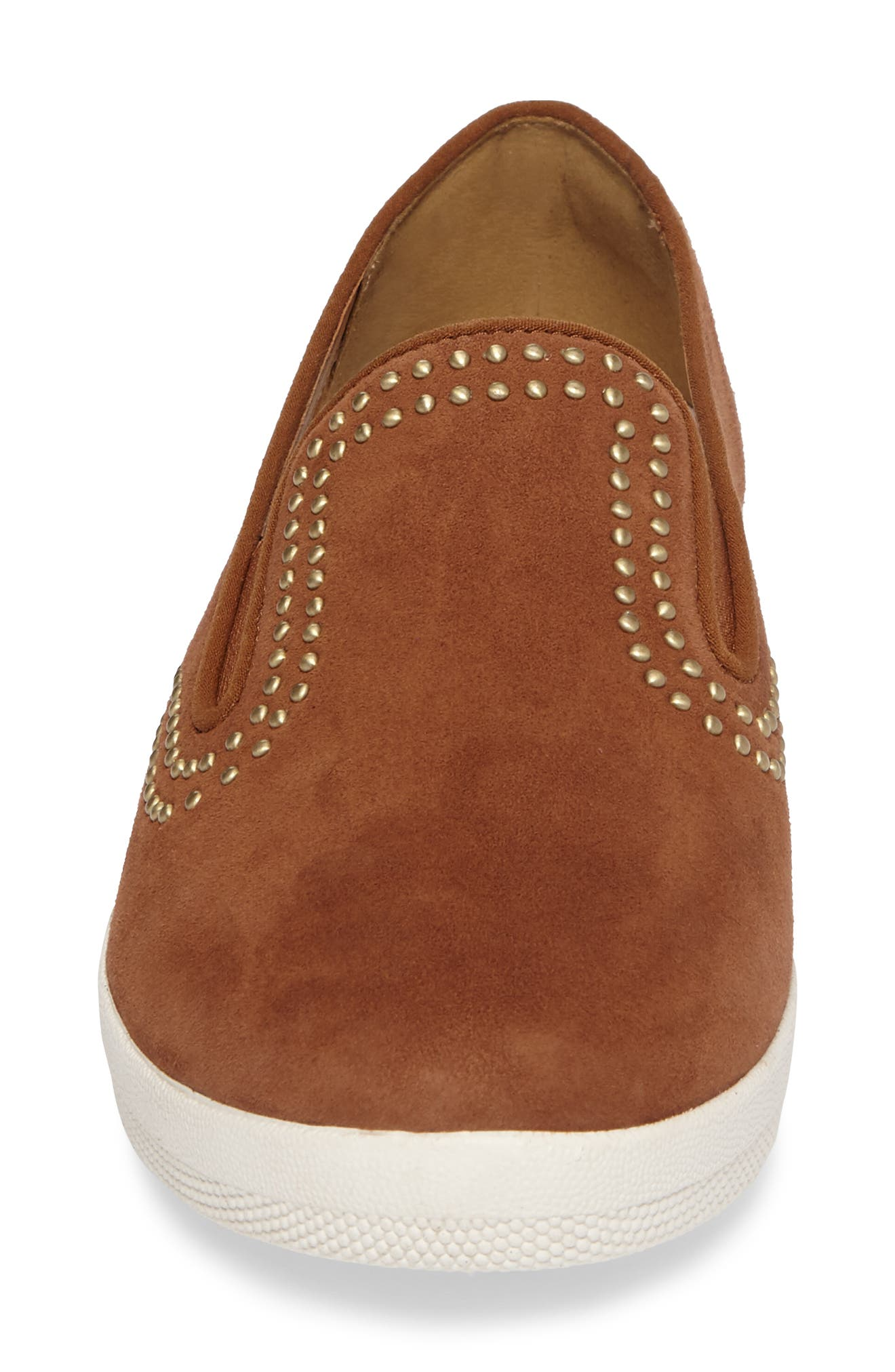 Superskate Studded Wedge Loafer,                             Alternate thumbnail 4, color,                             Tan Faux Suede