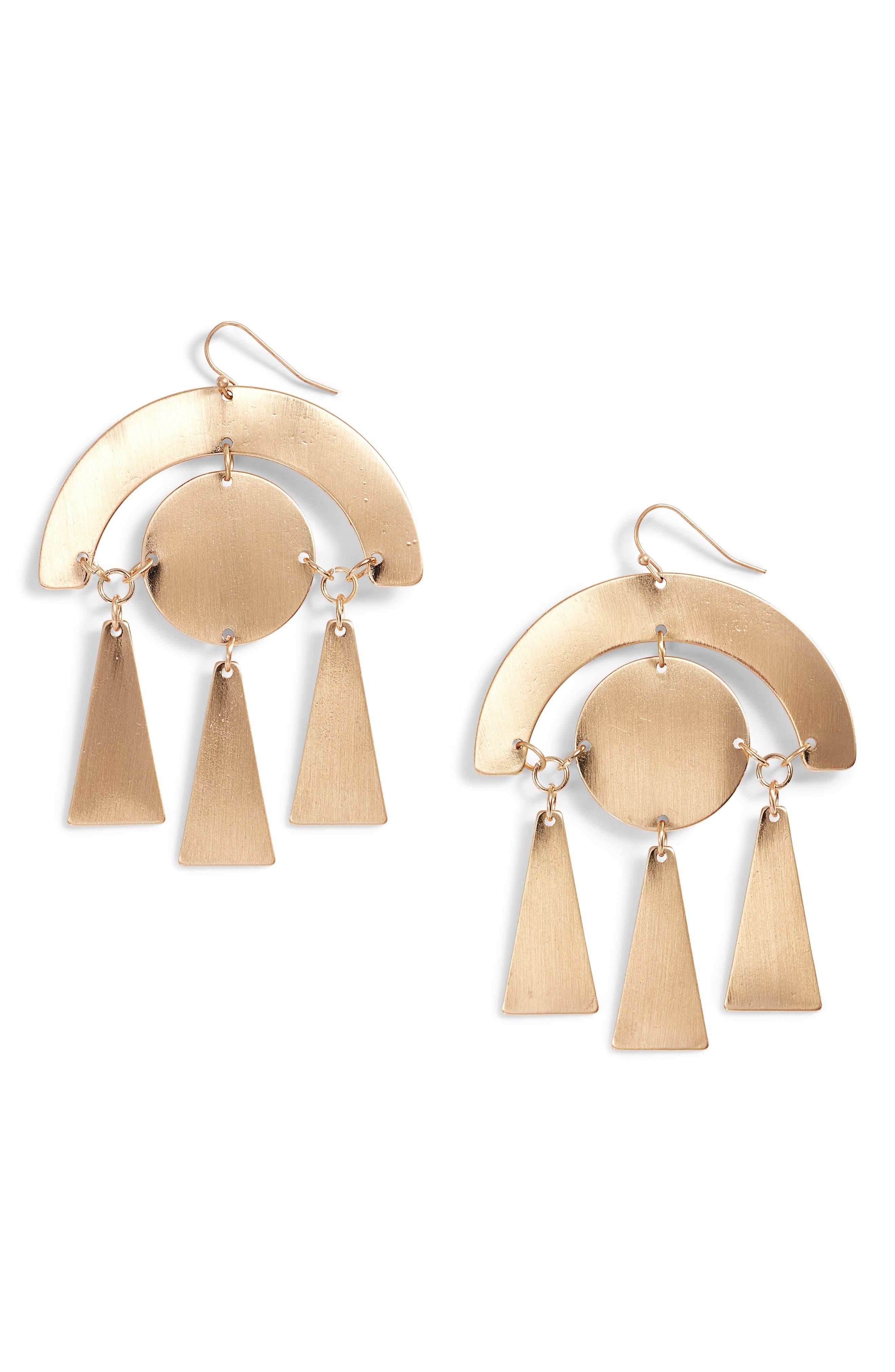 Geo Drop Earrings,                         Main,                         color, Antique Gold