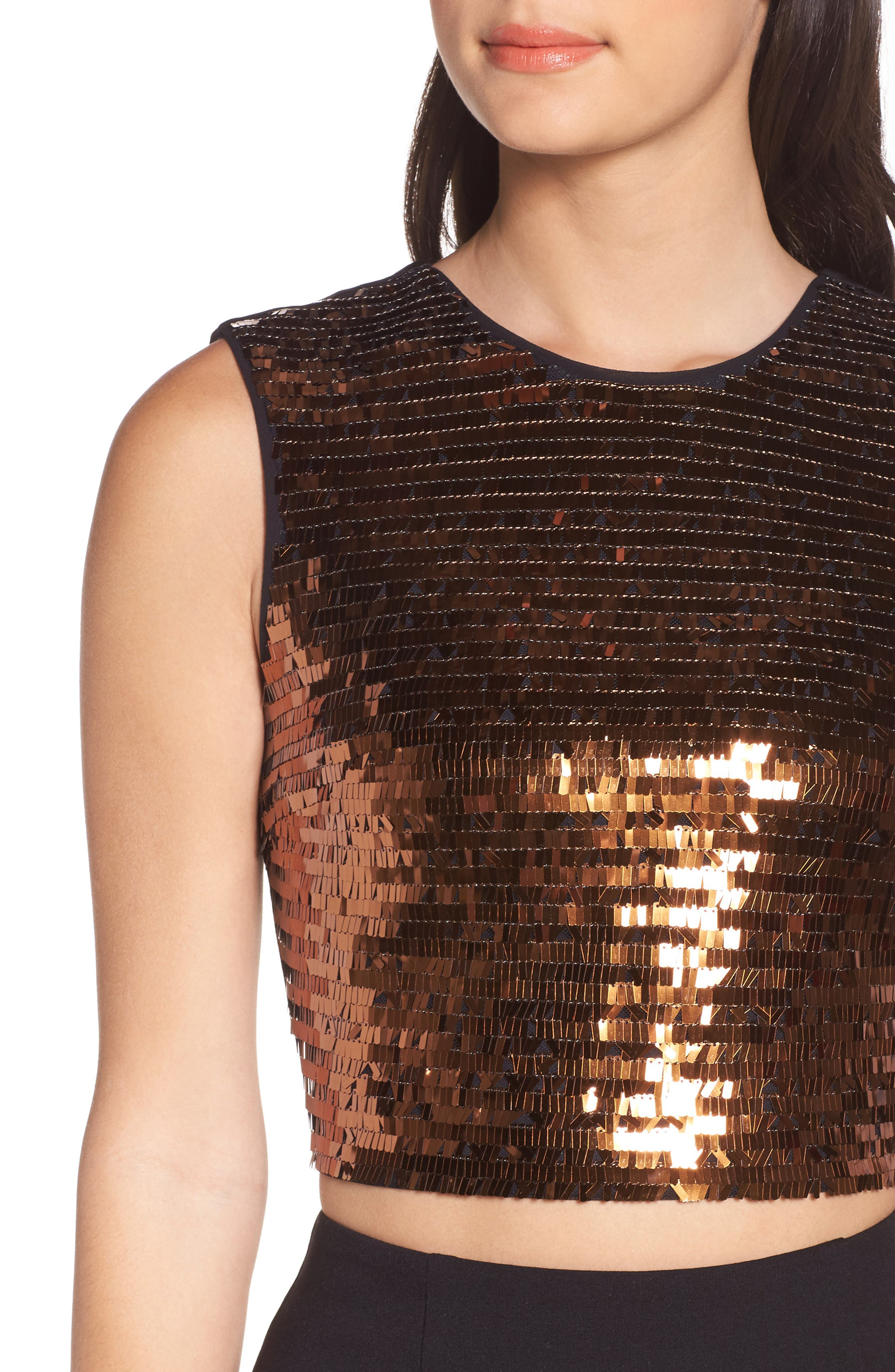 Disco Ball Two-Piece Dress,                             Alternate thumbnail 4, color,                             Copper Sequin