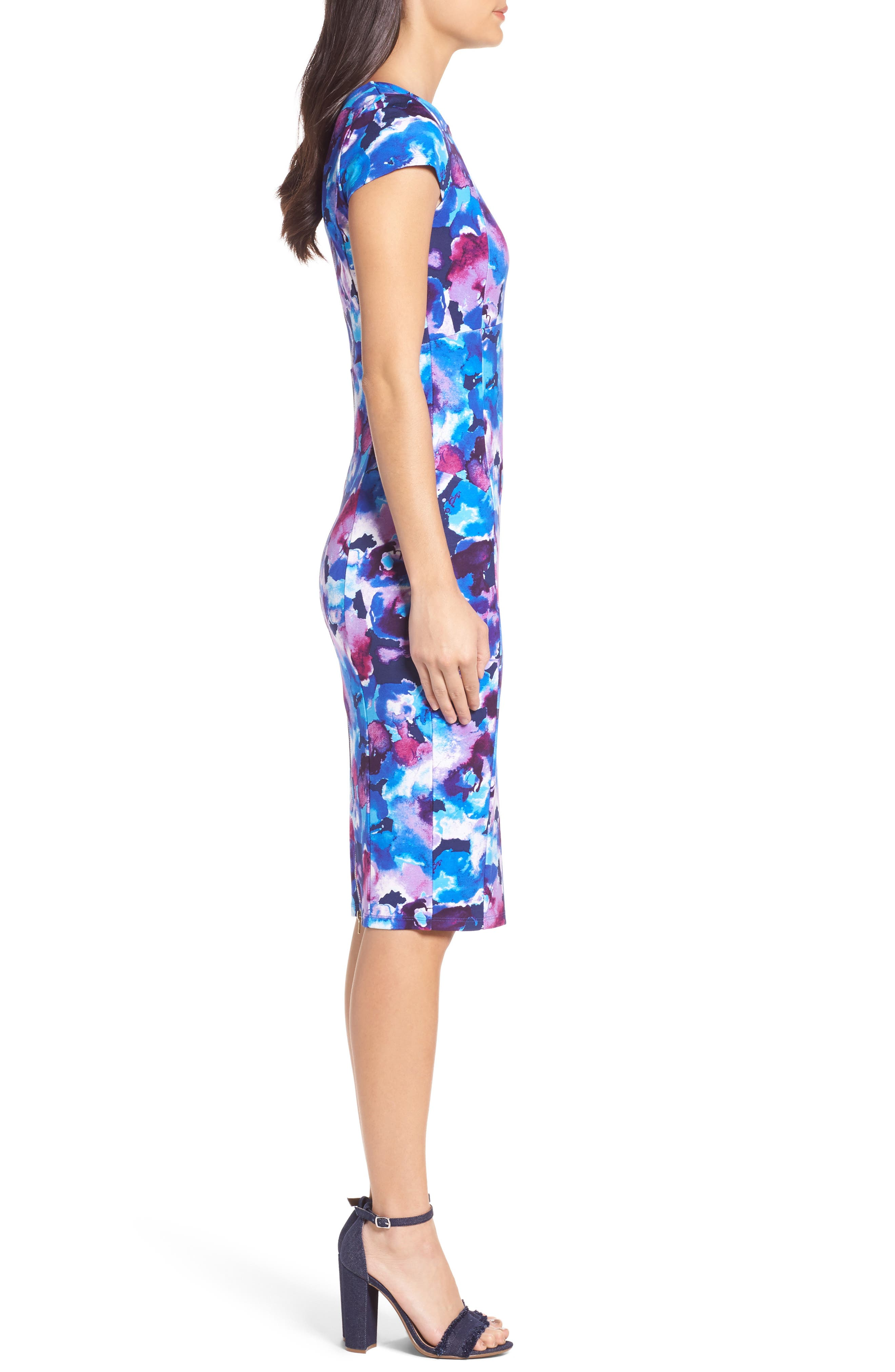 Alternate Image 3  - Felicity & Coco Wardess Floral Ponte Sheath Dress (Regular & Petite) (Nordstrom Exclusive)