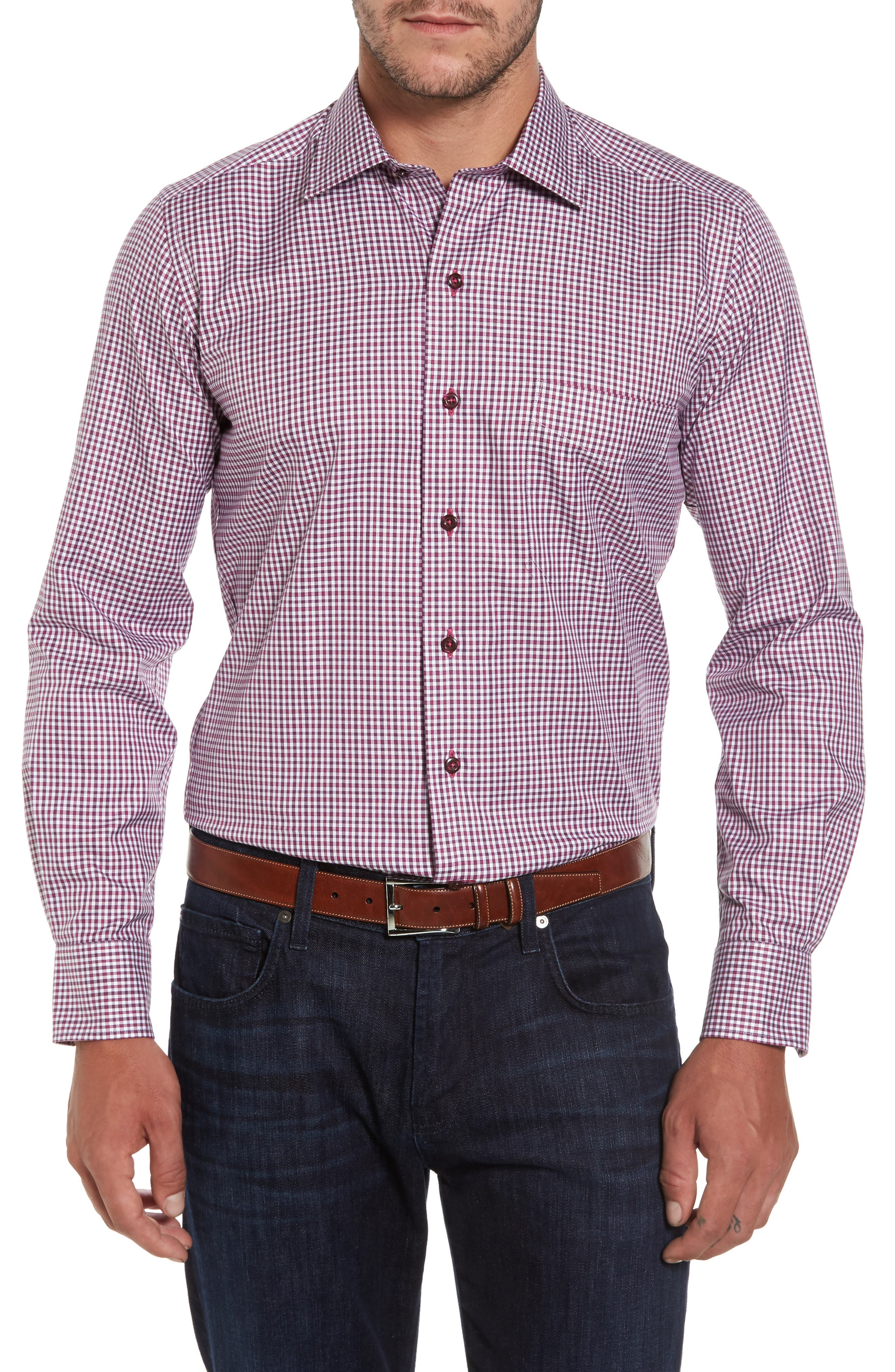 Plaid Regular Fit Sport Shirt,                         Main,                         color, Berry