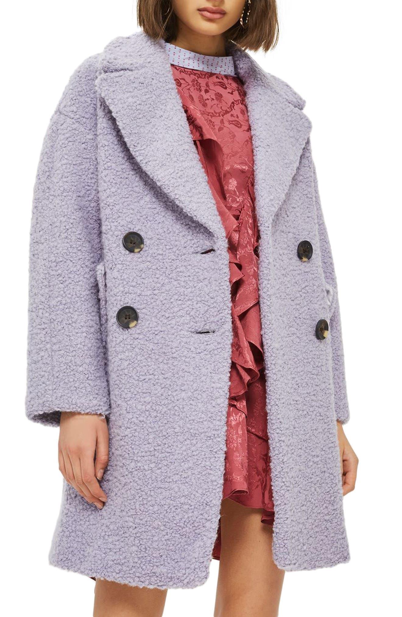 Main Image - Topshop Alicia Bouclé Slouch Coat