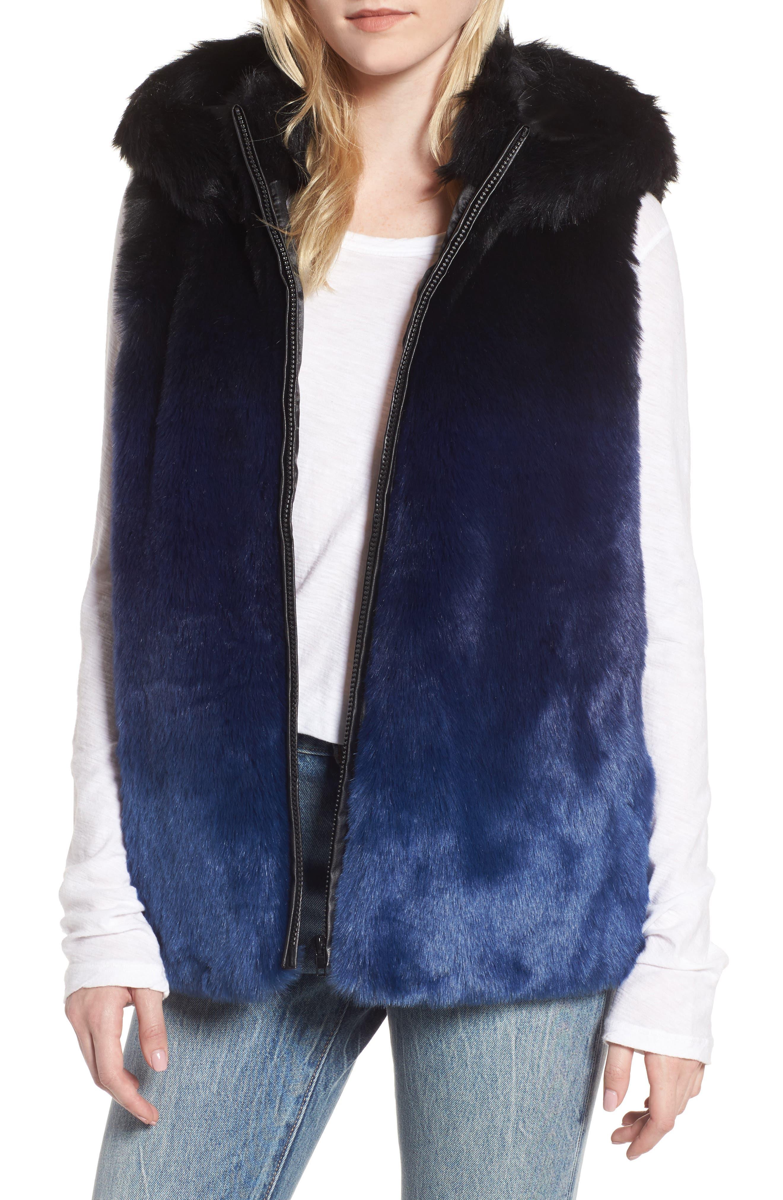 Ryan Ombré Faux Fur Hooded Vest,                         Main,                         color, Blue
