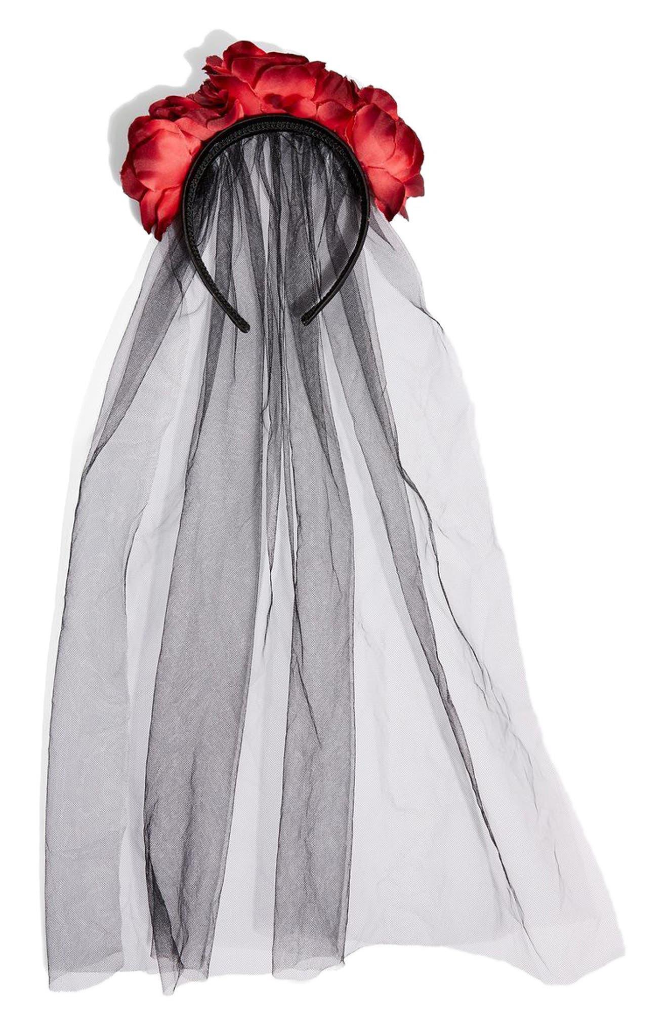 Halloween Flower Veil Headband,                             Main thumbnail 1, color,                             Black