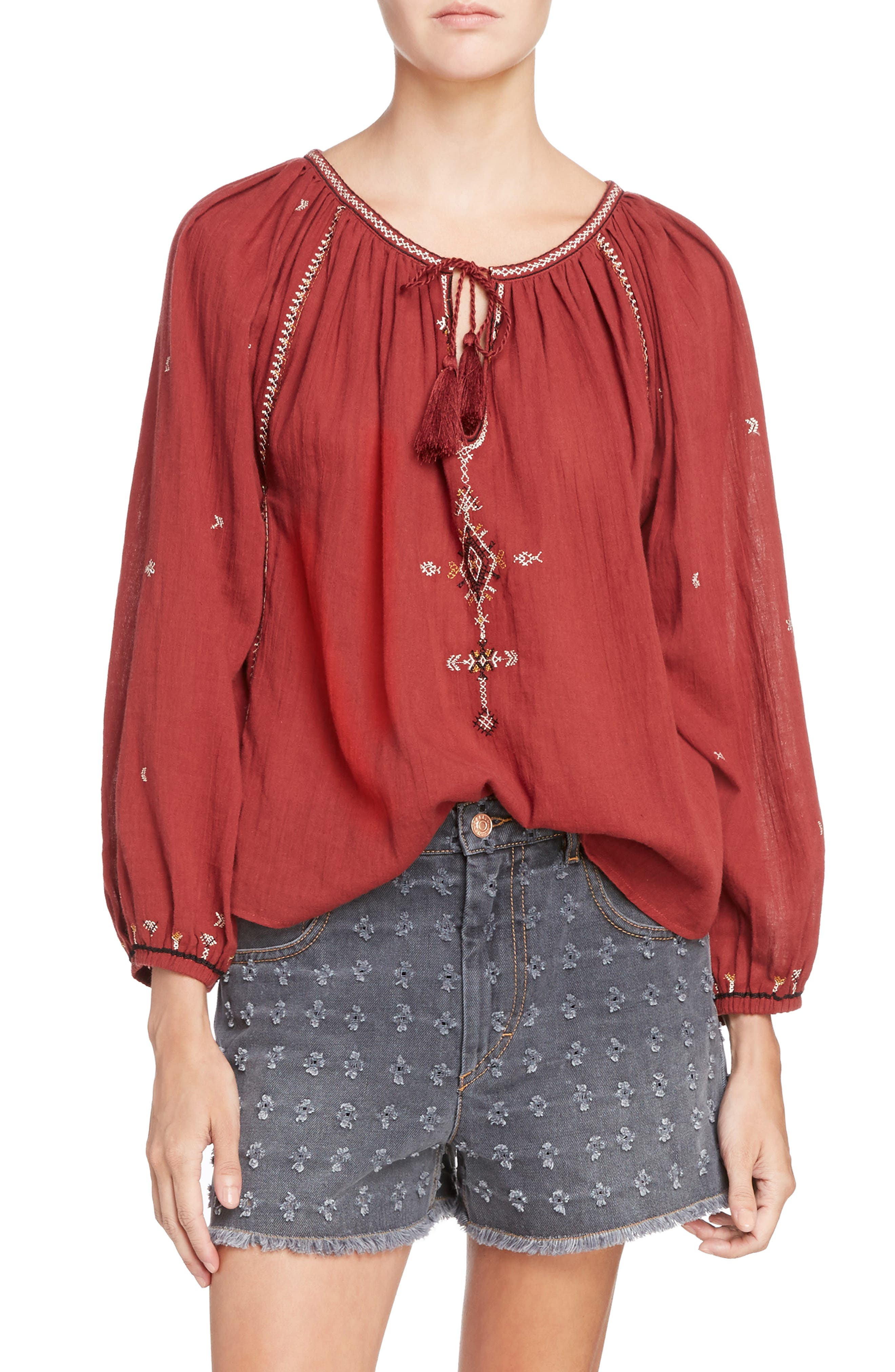 Isabel Marant Étoile Melina Embroidered Cotton Top,                         Main,                         color, Rust