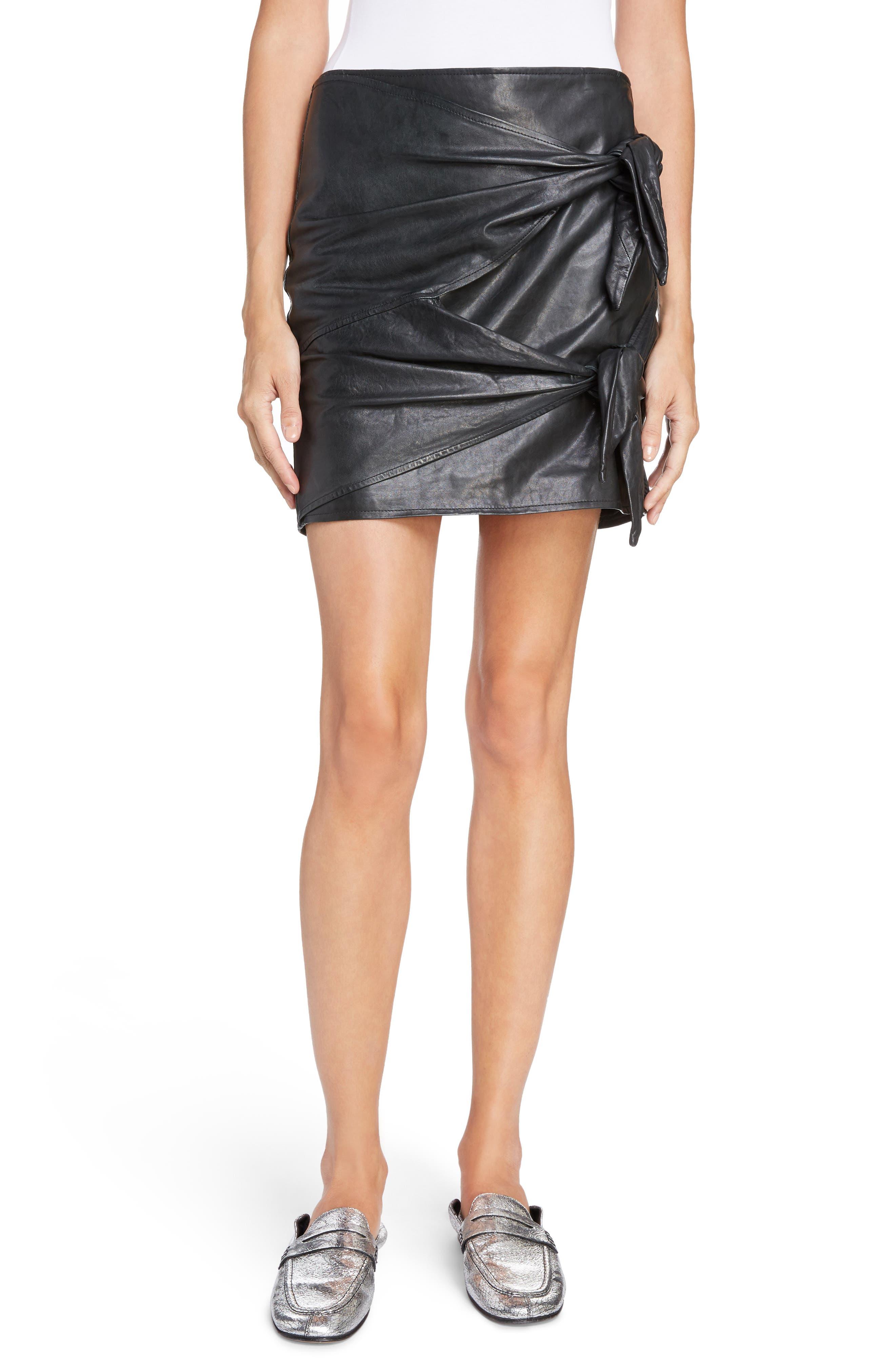 Isabel Marant Étoile Gritanny Tied Leather Skirt,                         Main,                         color, Black