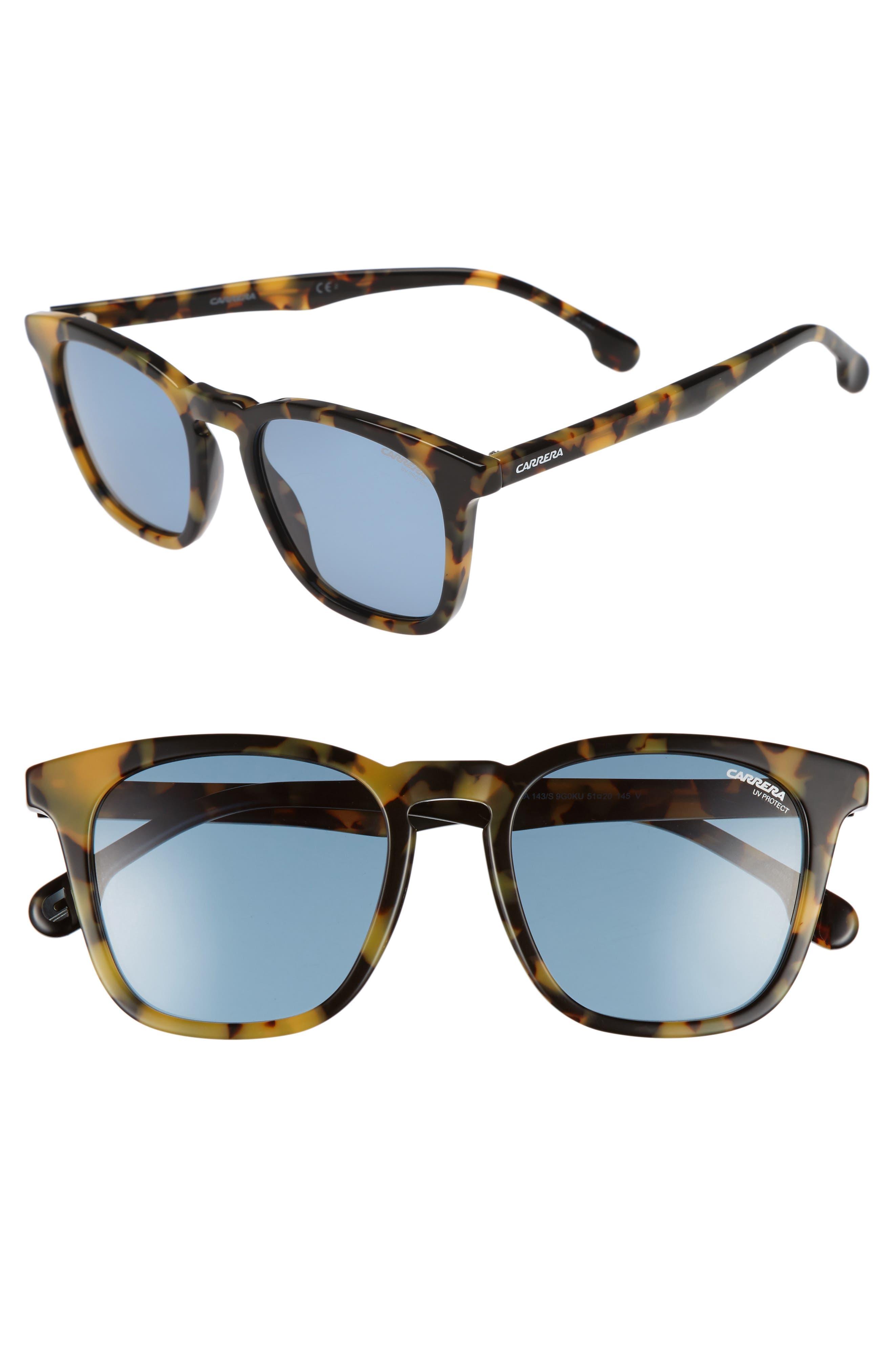 Carrera 143S 51mm Sunglasses,                         Main,                         color, Havana Palladium/ Blue Avio