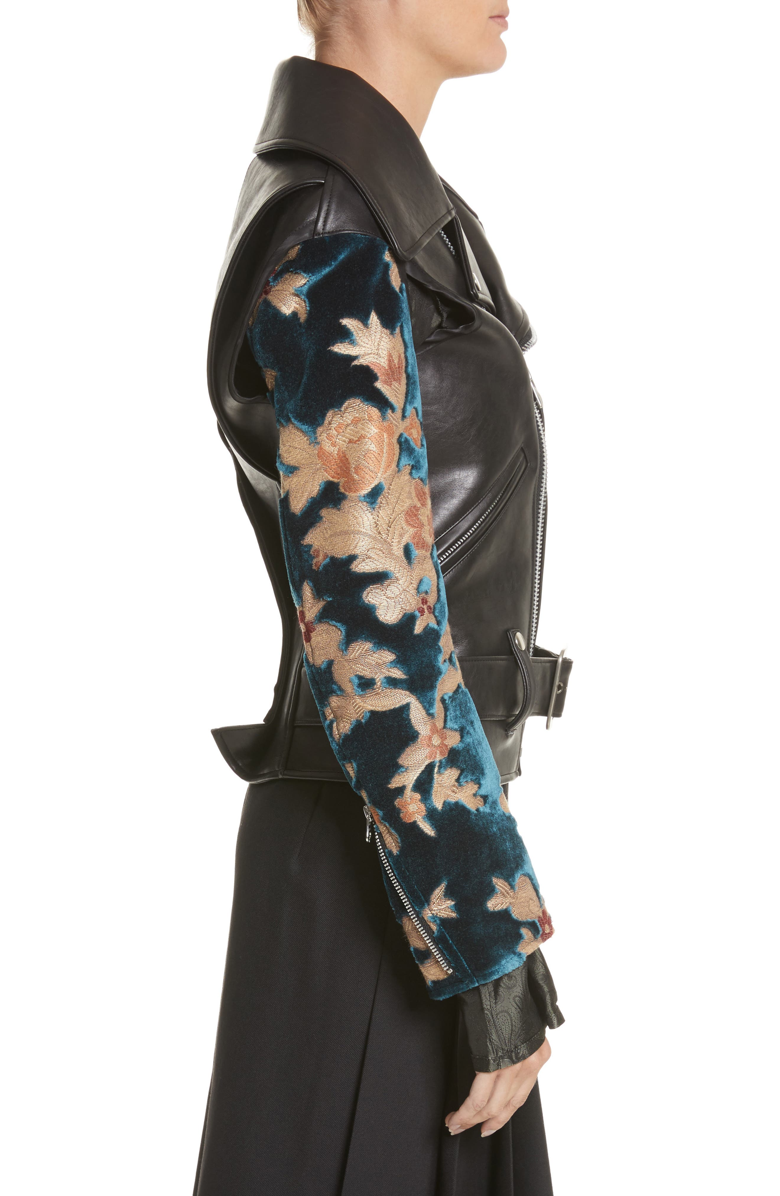 Faux Leather Moto Jacket with Floral Sleeves,                             Alternate thumbnail 3, color,                             Black X Blu/Bge