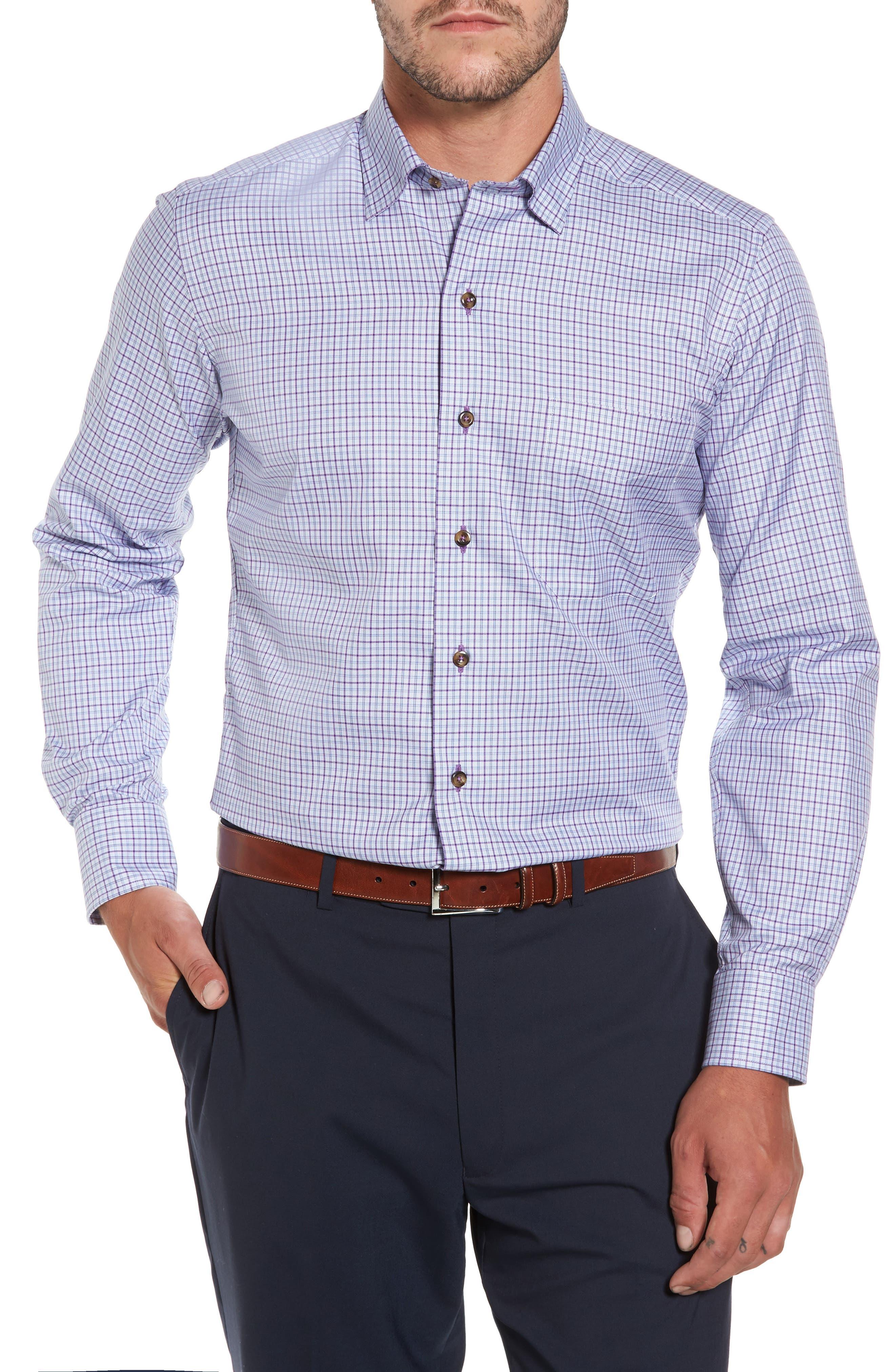 Alternate Image 1 Selected - David Donahue Plaid Regular Fit Sport Shirt
