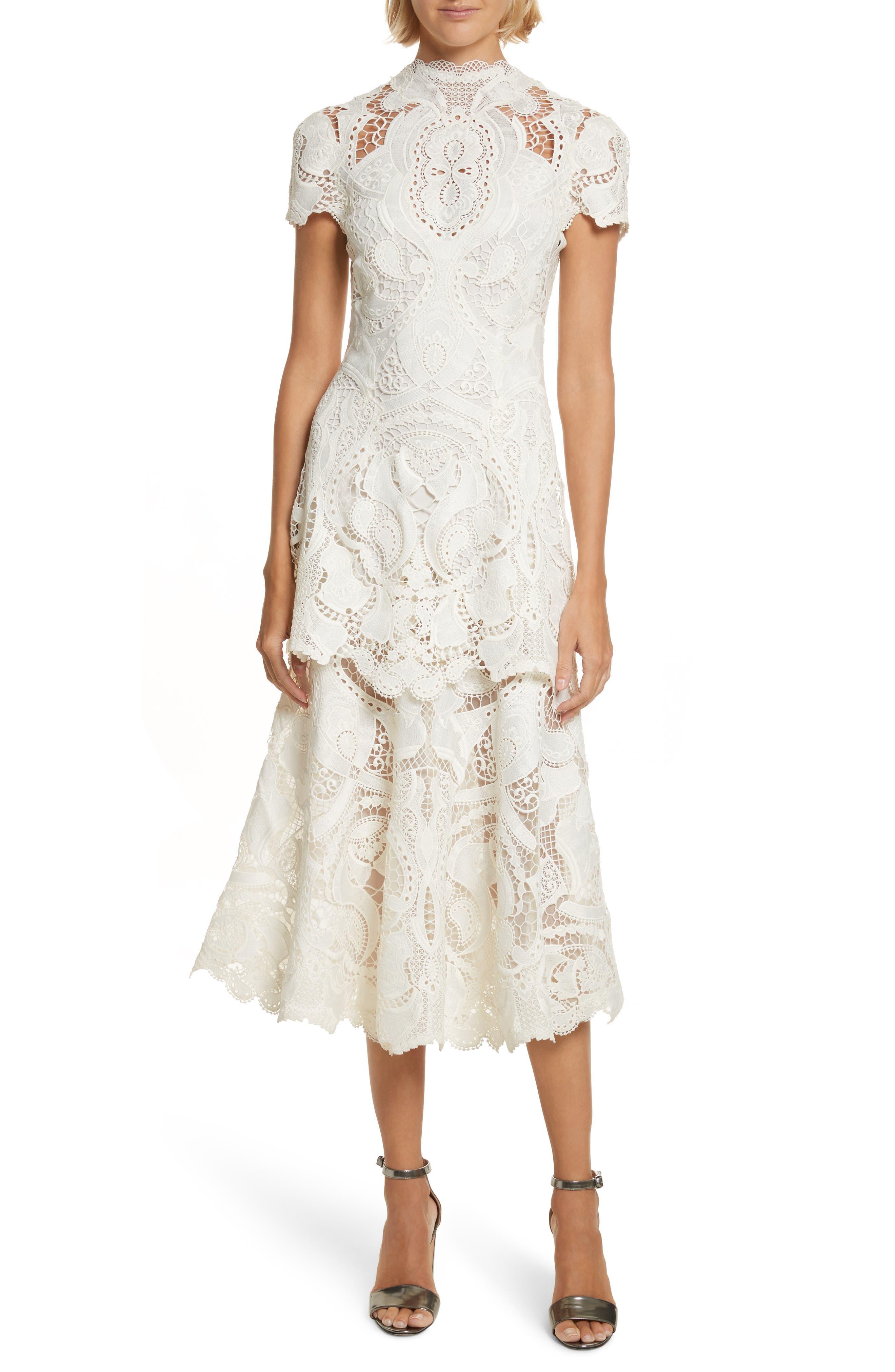 Appliqué Lace Midi Dress,                             Main thumbnail 1, color,                             Ivory