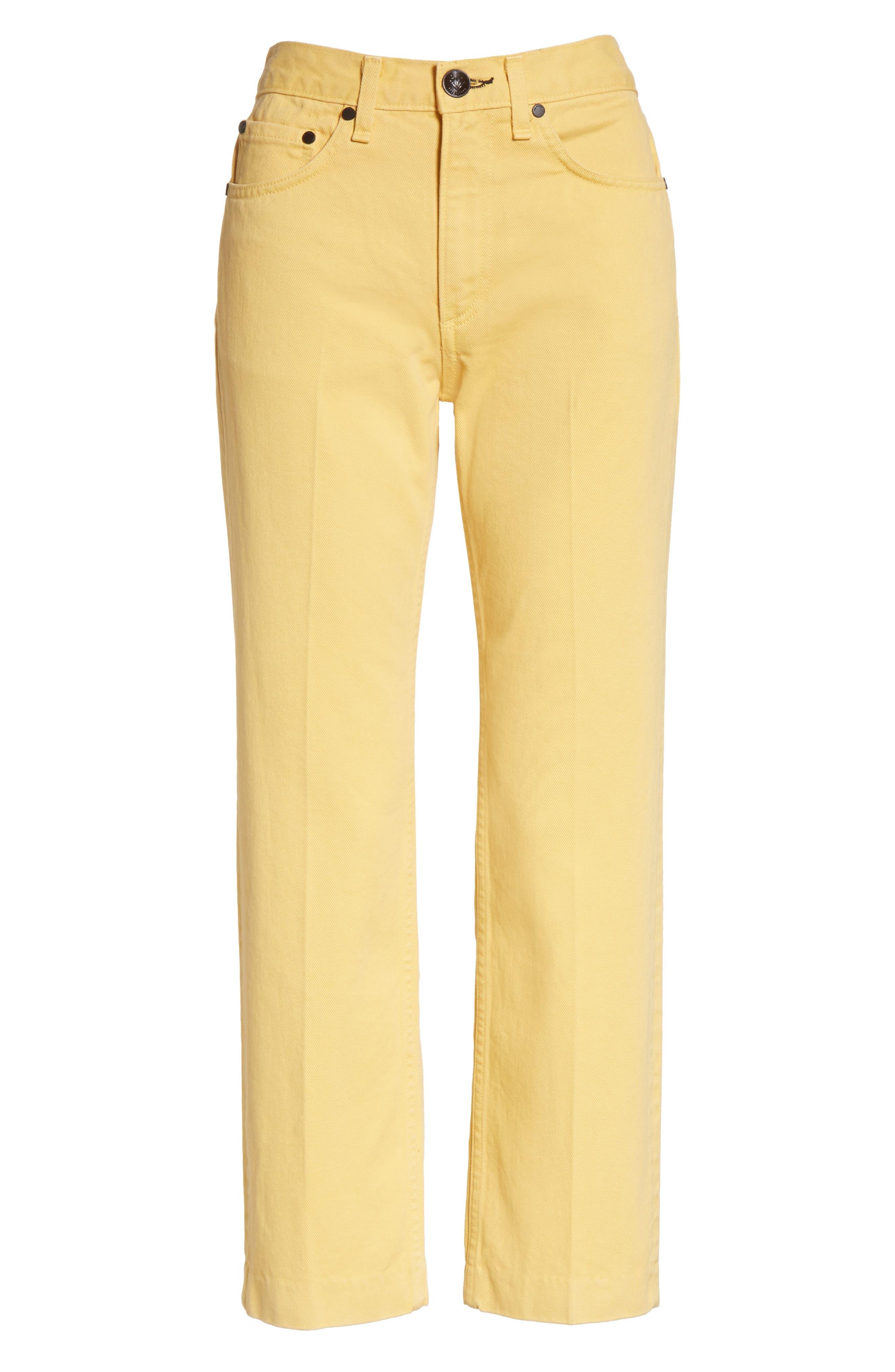 Alternate Image 6  - rag & bone/JEAN Straight Leg Crop Jeans (Sunrise)