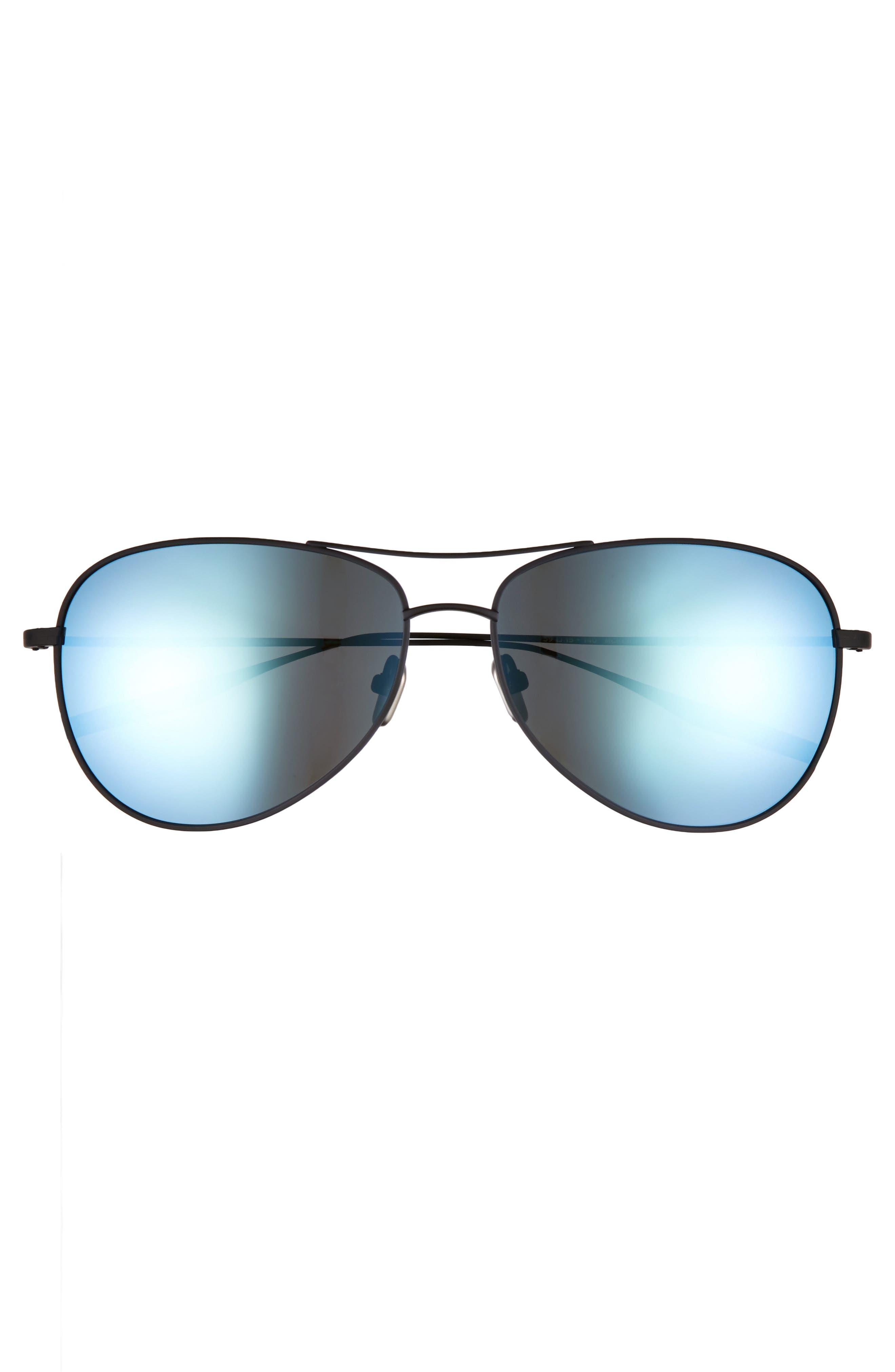 McKean 59mm Aviator Sunglasses,                             Alternate thumbnail 2, color,                             Black Sand / Mirror Blue