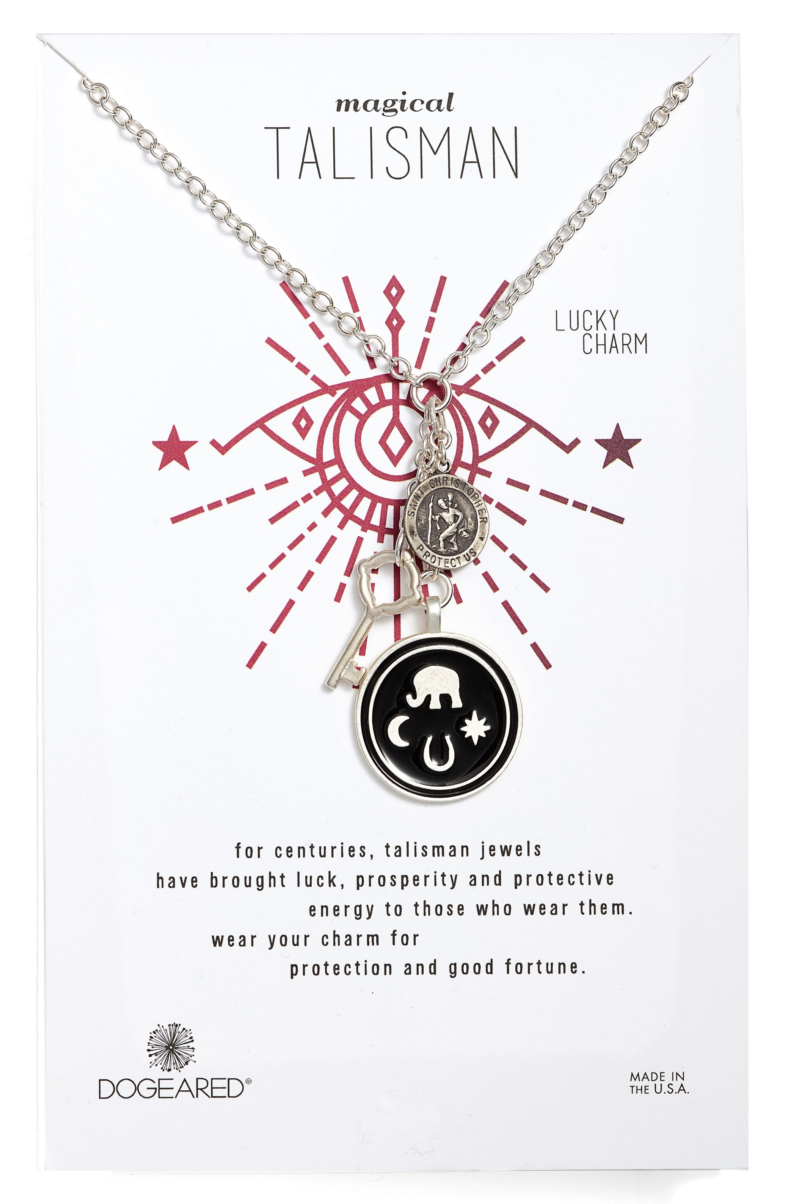 Talisman Pendant Necklace,                             Main thumbnail 1, color,                             Silver