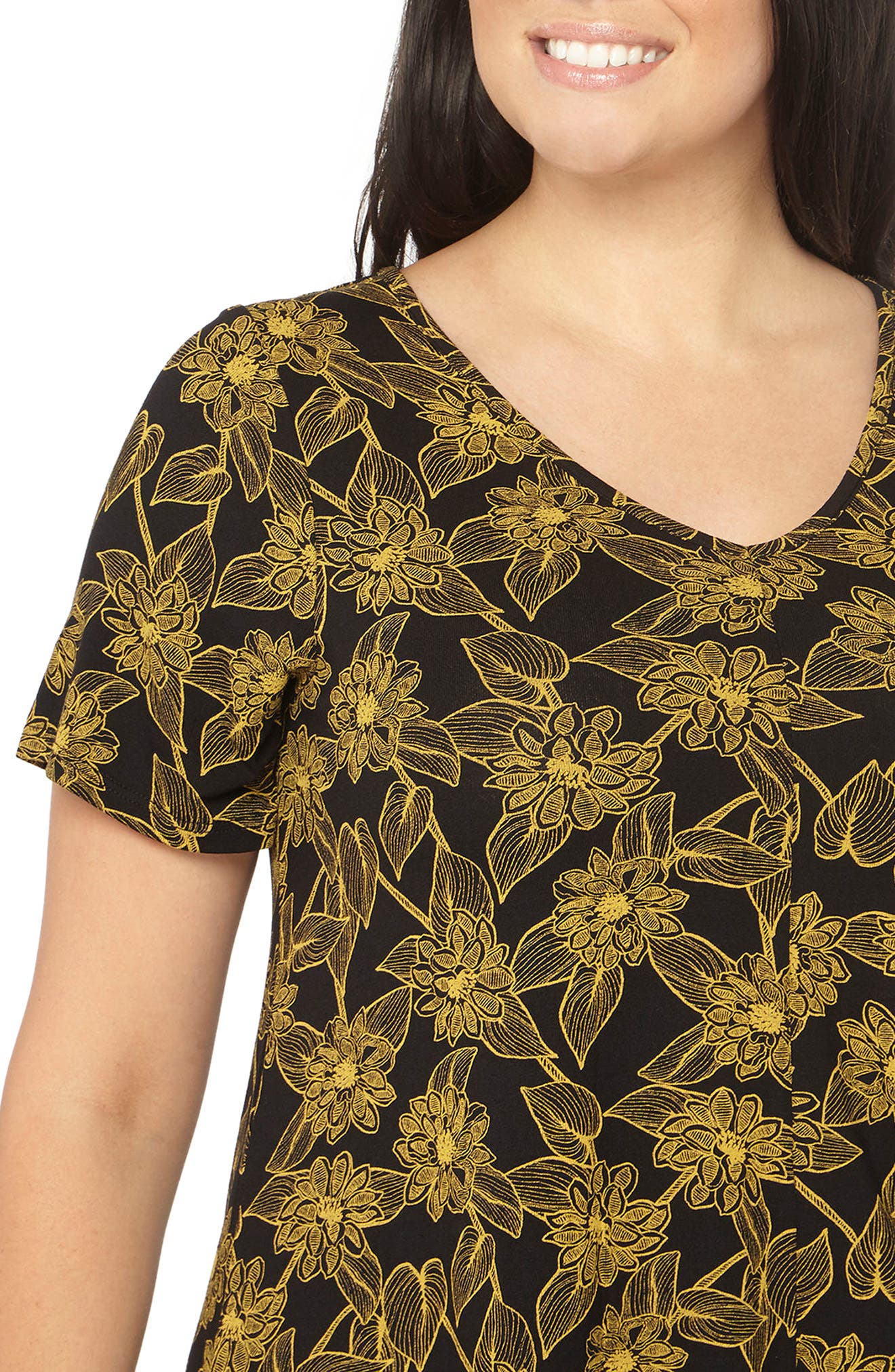 Floral Print Top,                             Alternate thumbnail 3, color,                             Yellow