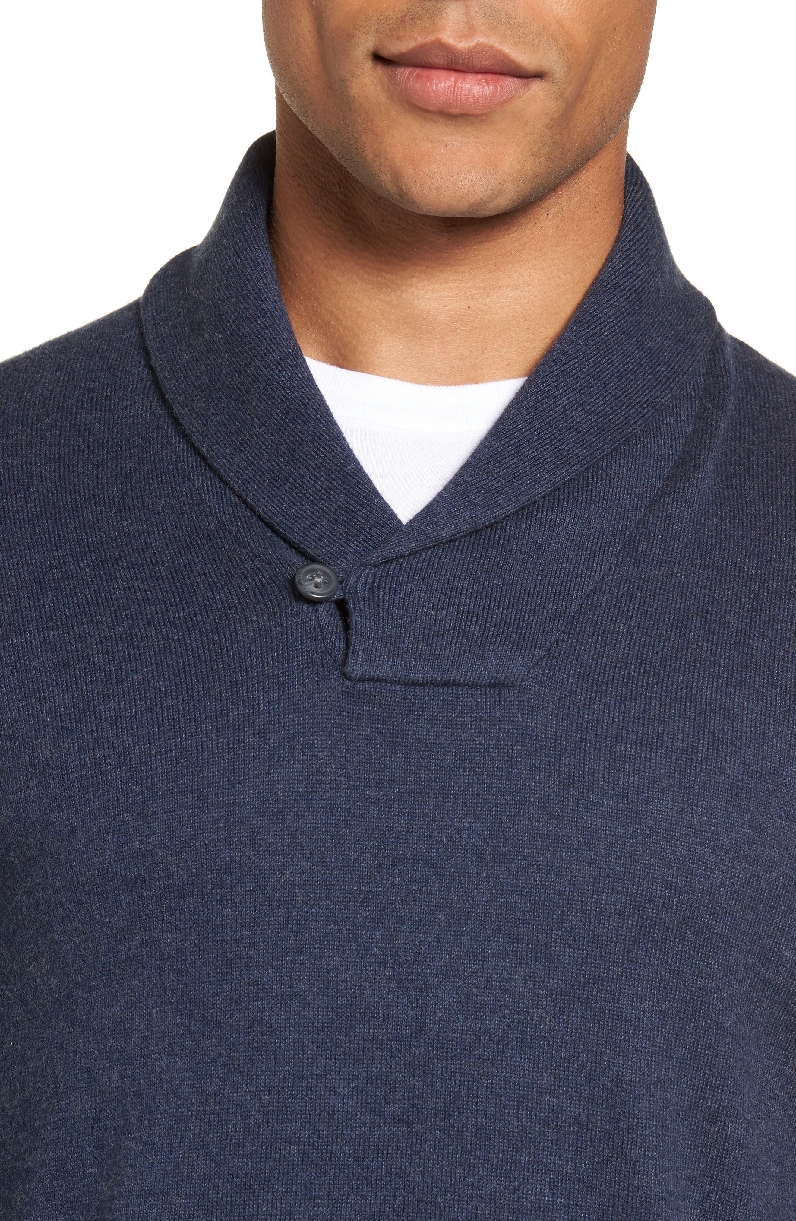 Men's Shop Shawl Collar Sweater,                             Alternate thumbnail 4, color,                             Blue Estate Heather